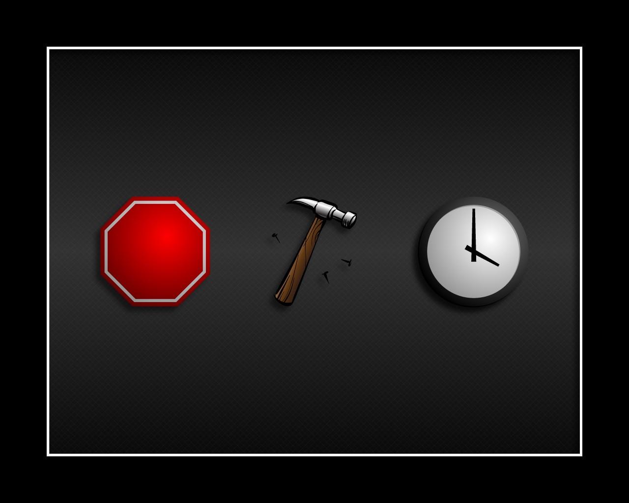 General 1280x1024 hammer stop sign clocks time minimalism songs music humor imagination nails