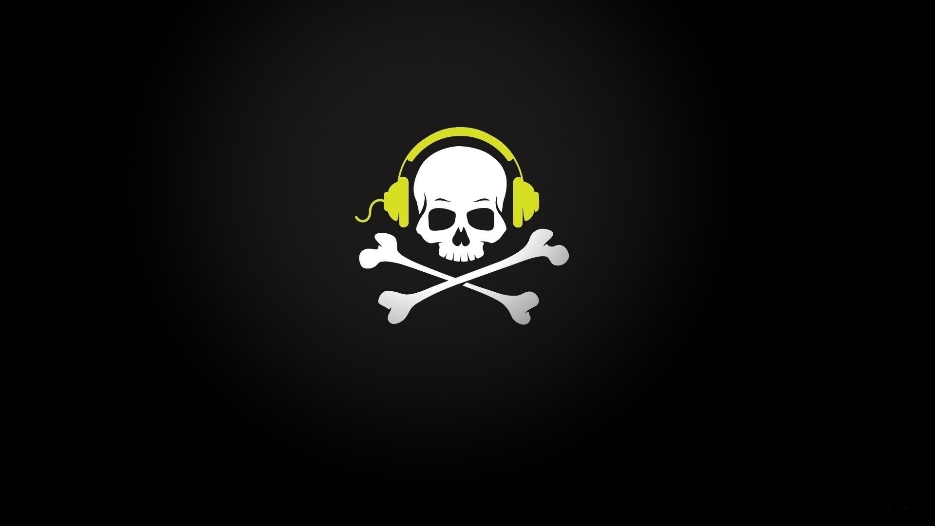 General 1920x1080 skull and bones headphones gradient minimalism skull