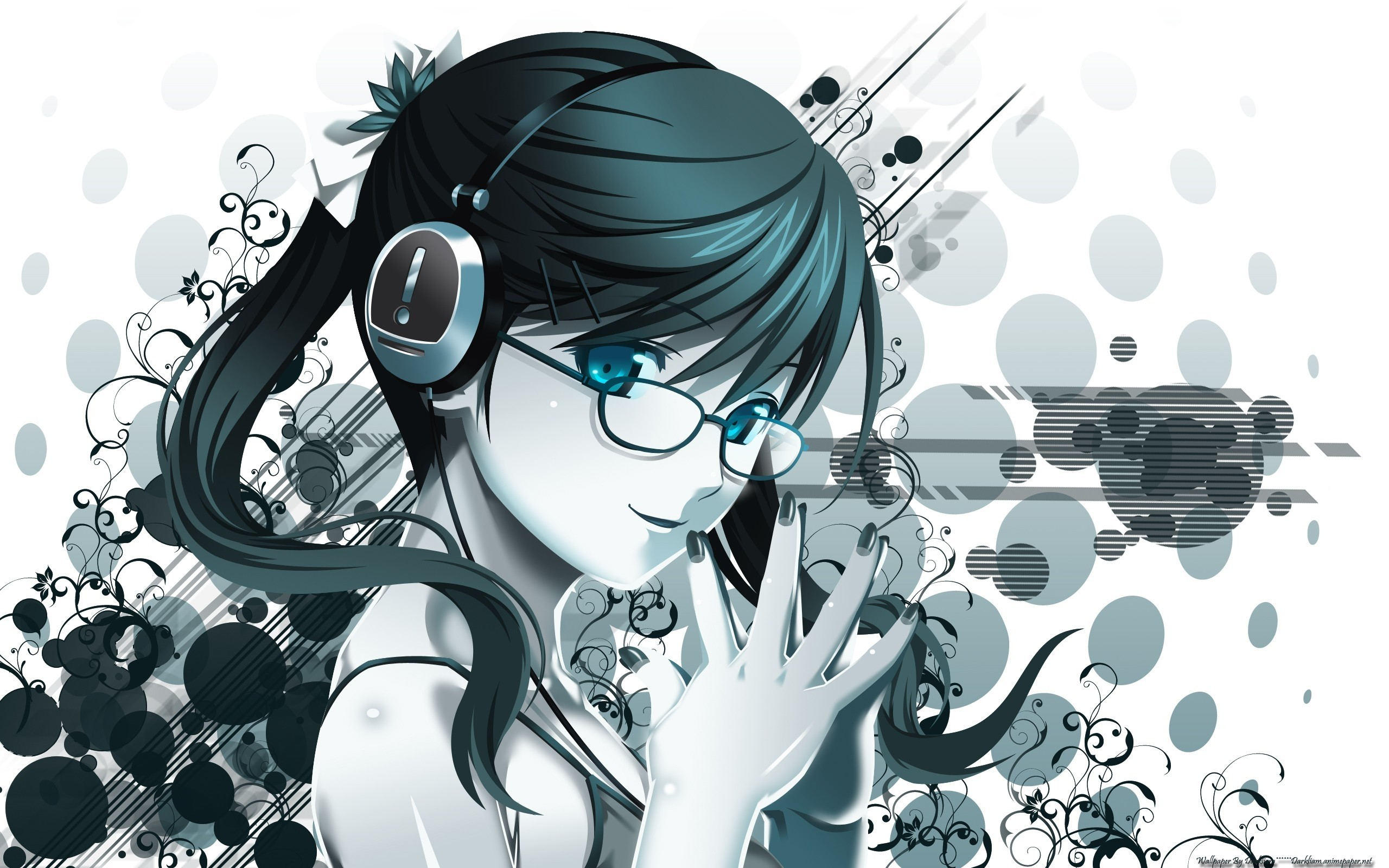 Anime 2560x1600 anime girls anime headphones glasses meganekko original characters