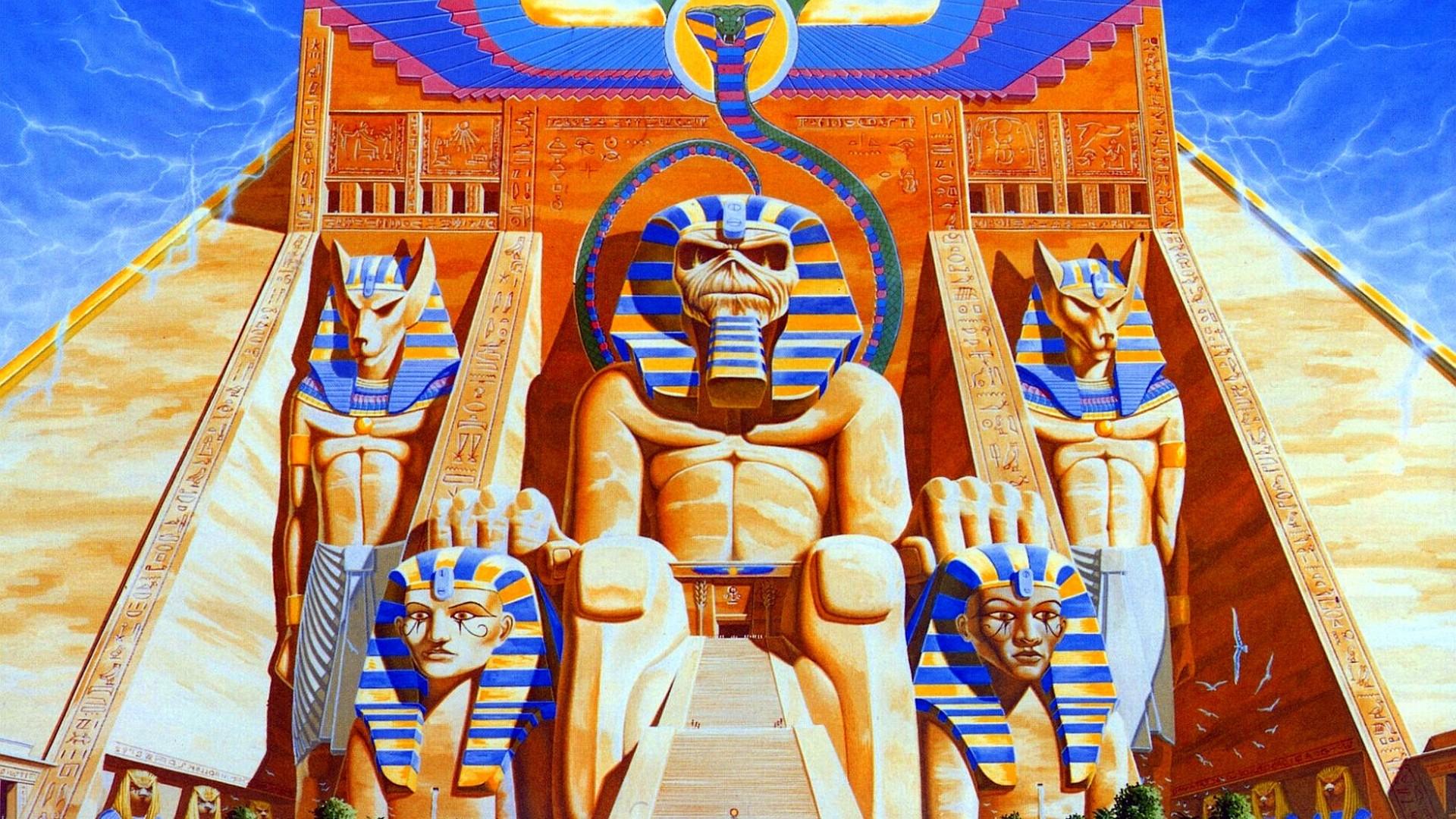 General 1920x1080 album covers cover art pyramid Iron Maiden music Egypt sphinx artwork band musician Eddie
