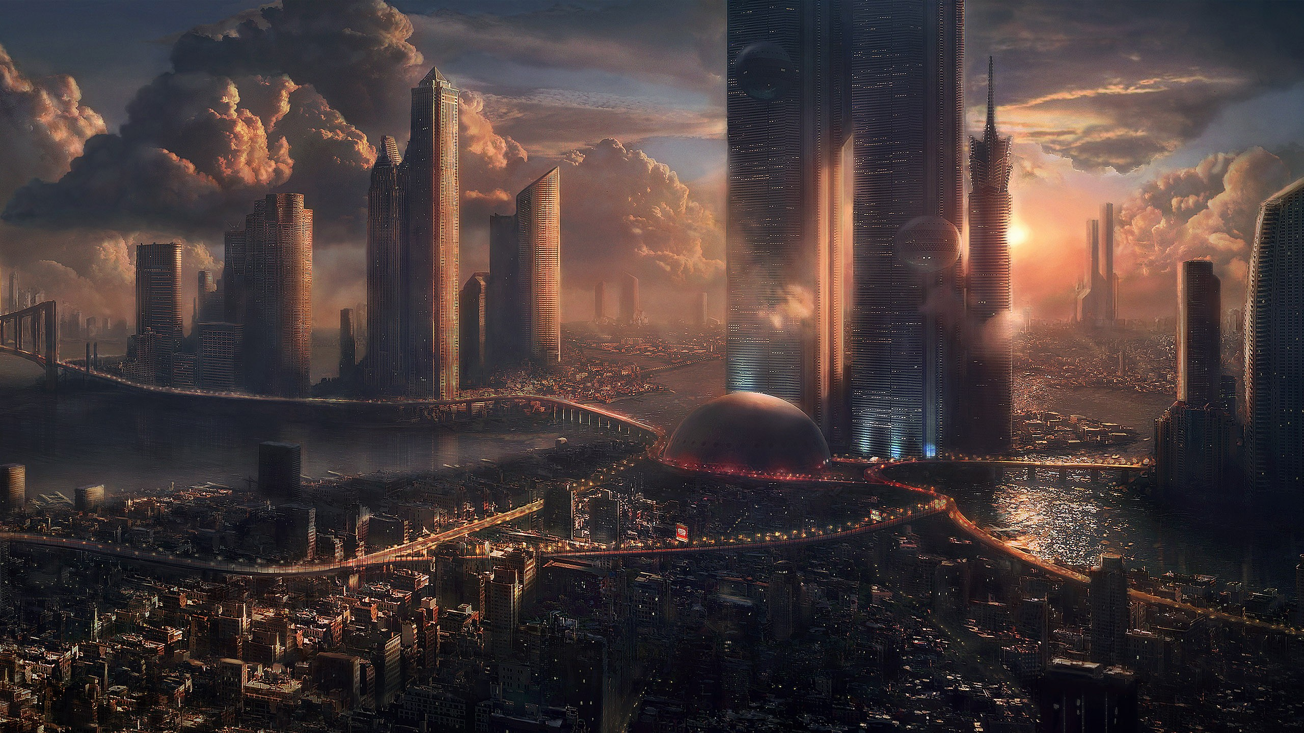 General 2560x1440 artwork cityscape futuristic futuristic city science fiction sky clouds digital art fantasy city 3D