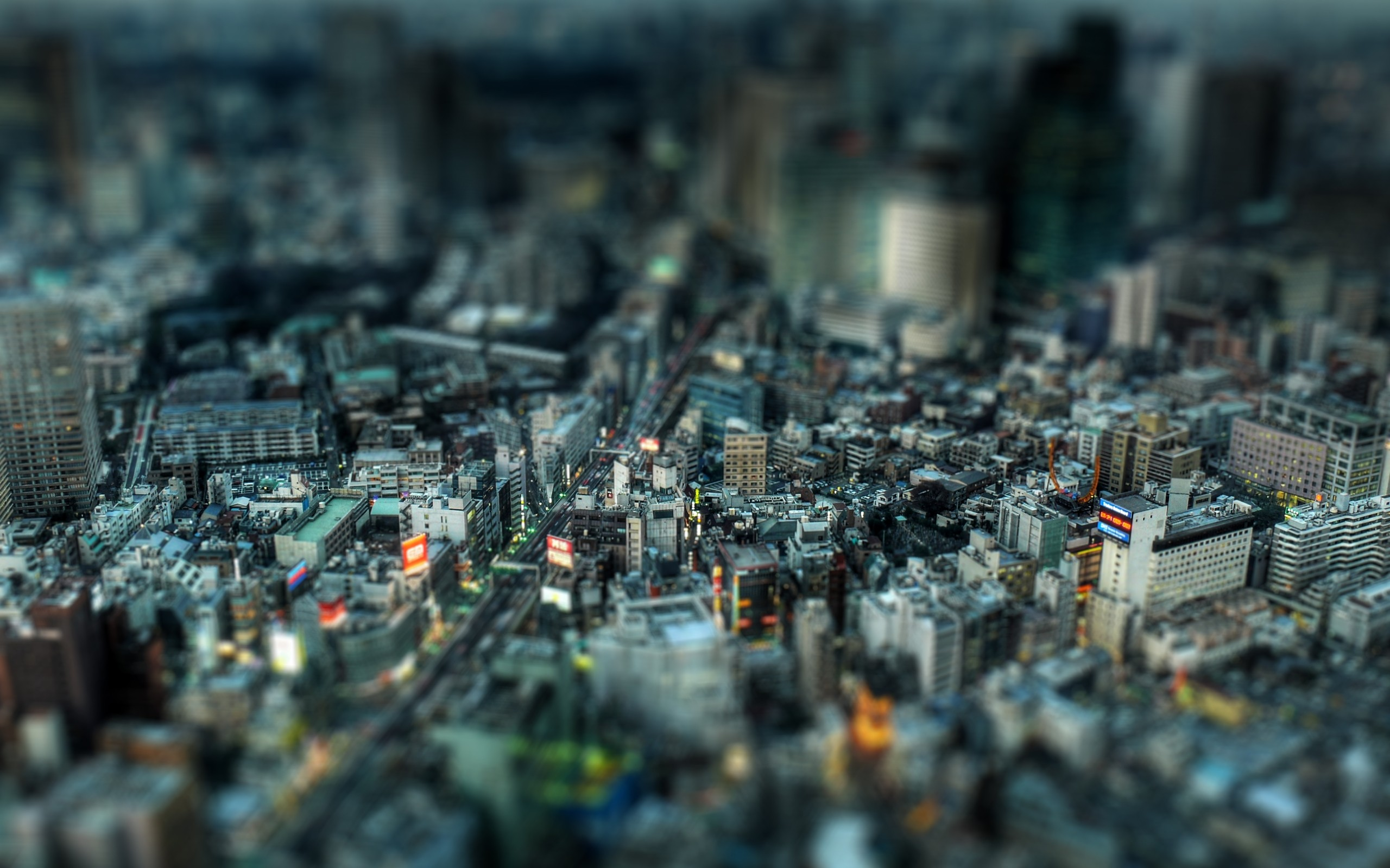General 2560x1600 tilt shift cityscape photography city Japan Tokyo