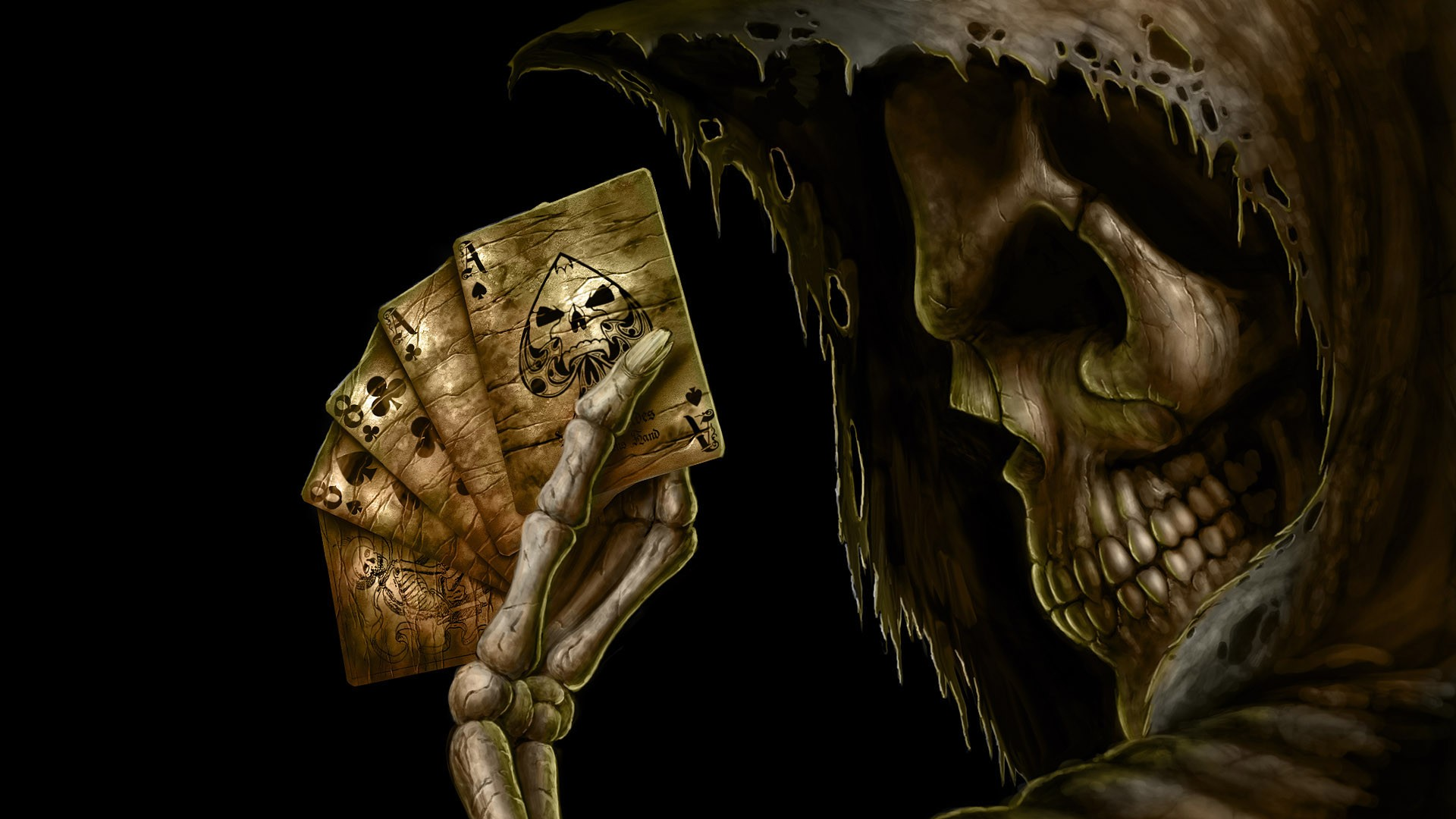 General 1920x1080 skull Grim Reaper cards black background skeleton poker death fantasy art cape simple background profile Ace of Spades spades aces playing portrait