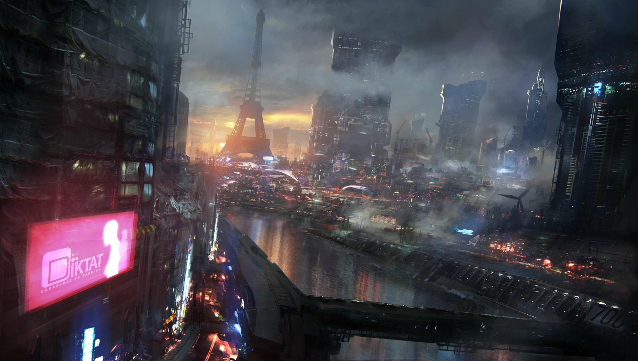 General 2048x1160 cyberpunk futuristic futuristic city science fiction artwork city cityscape Paris Remember Me video games Eiffel Tower PC gaming video game art