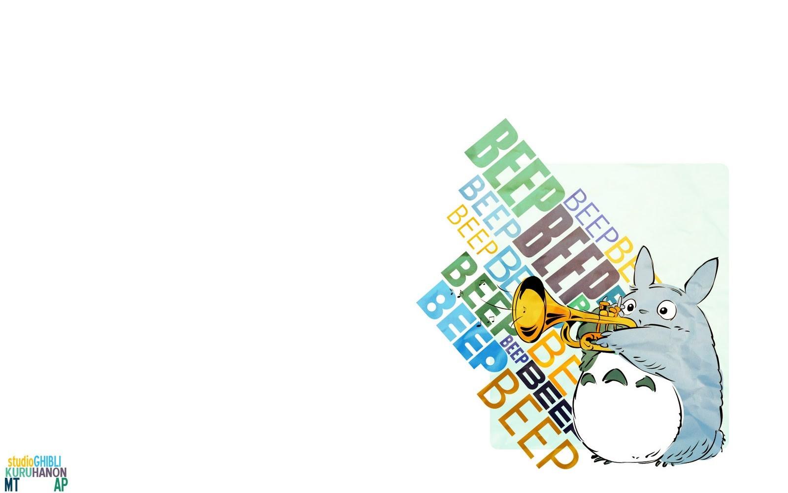 Anime 1600x1000 anime Totoro My Neighbor Totoro Studio Ghibli simple background white background musical instrument