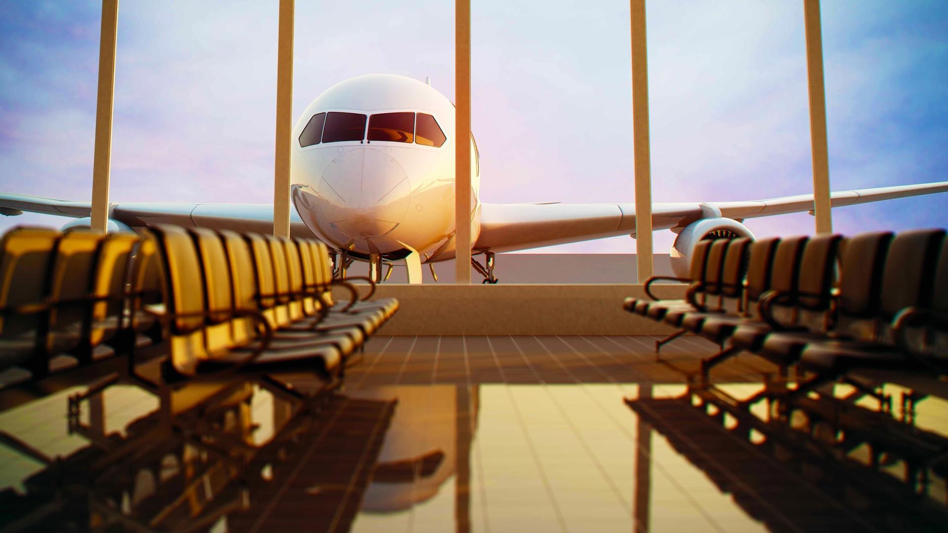 General 1920x1080 airplane airport chair passenger aircraft window sunlight reflection depth of field waiting glass