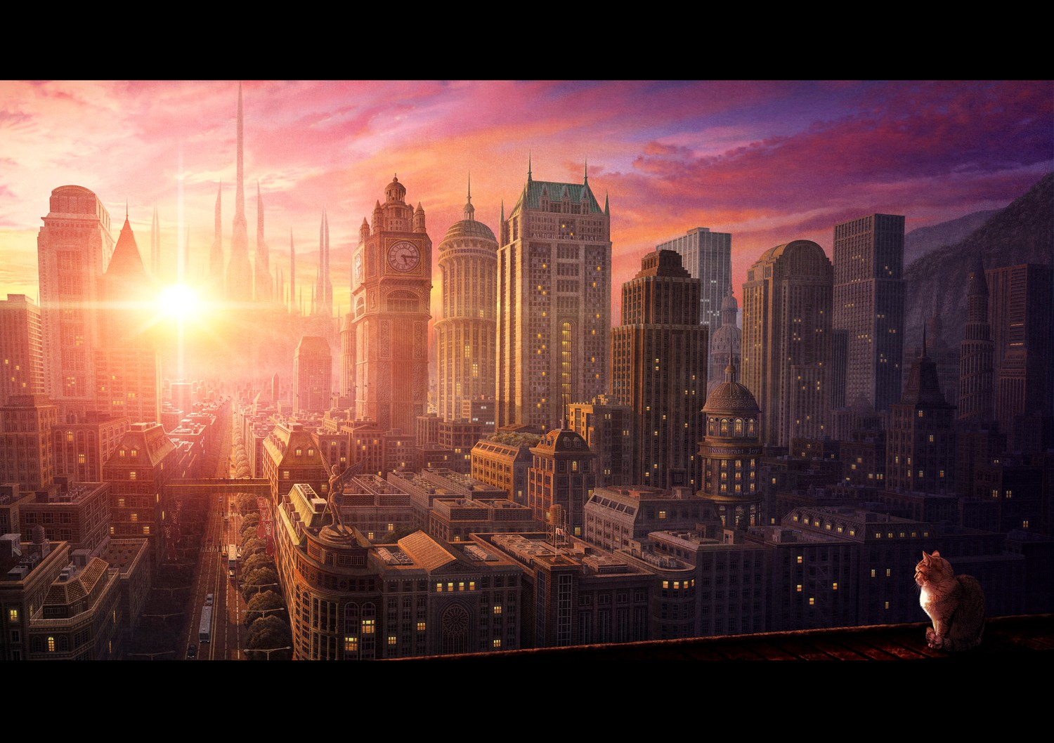 Anime 1500x1058 city cityscape cats detailed
