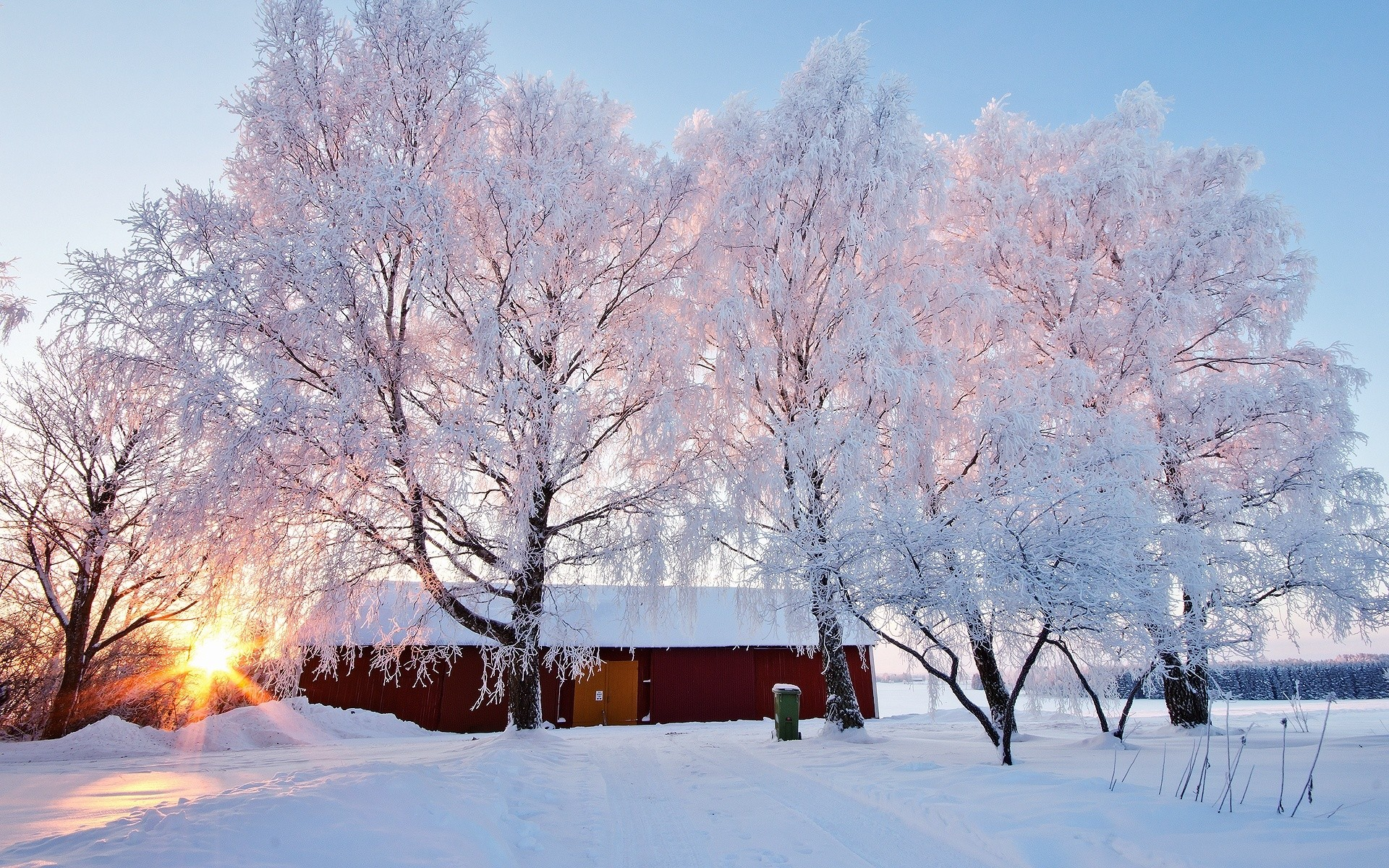 General 1920x1200 winter barn trees frost cold sunlight outdoors snow