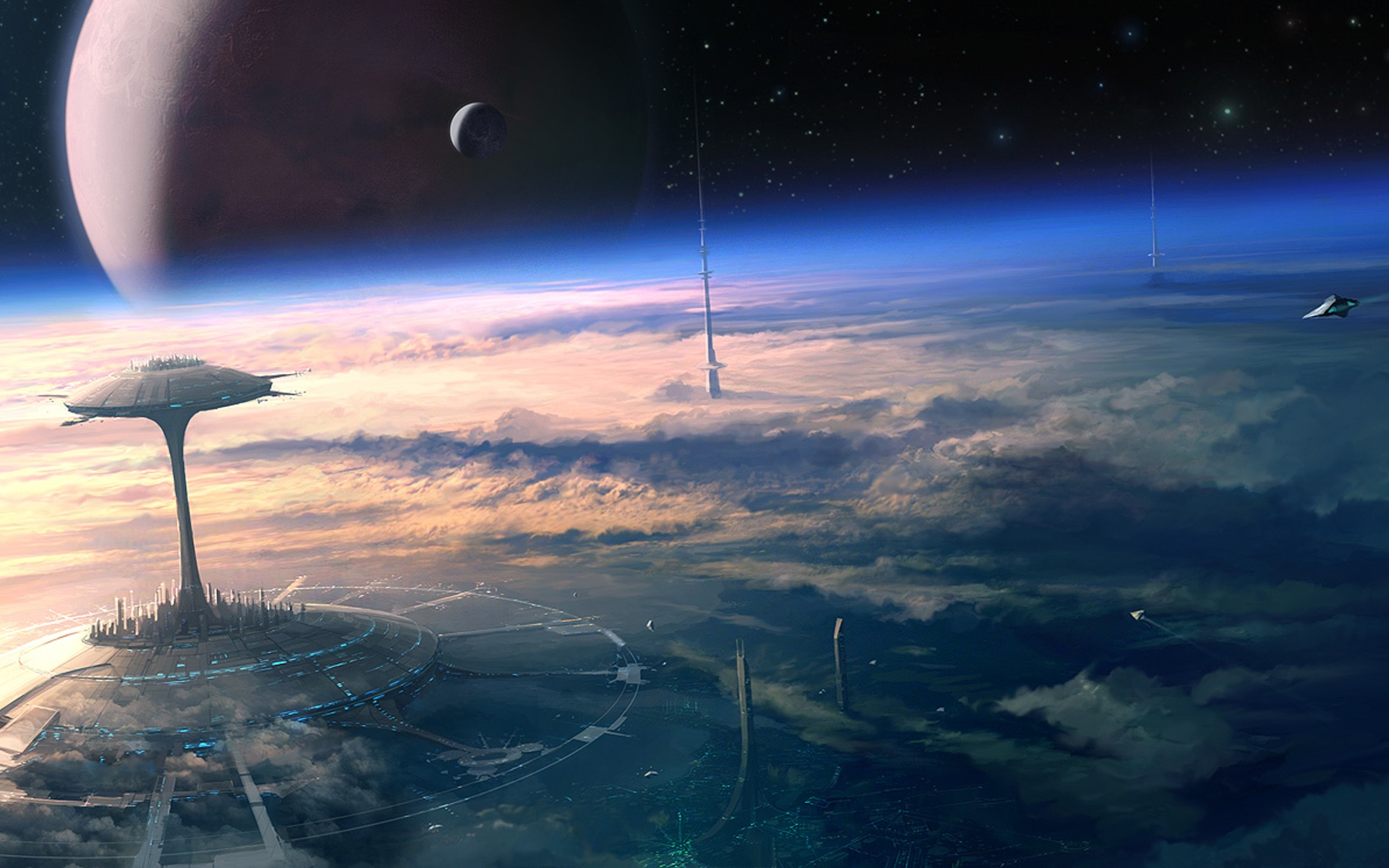 General 1920x1200 digital art space science fiction futuristic planet atmosphere space art