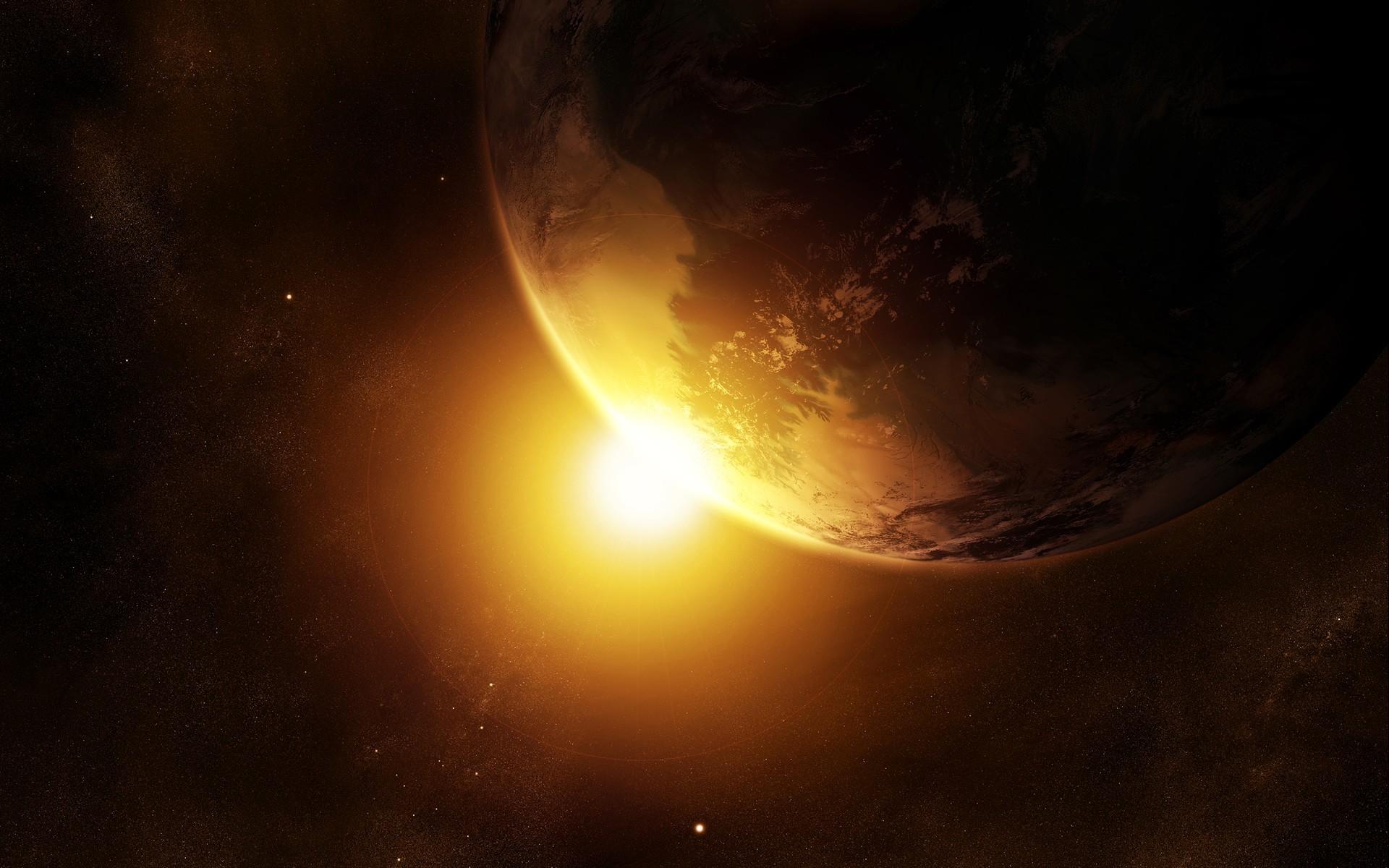 General 1920x1200 Sun space Earth space art planet digital art
