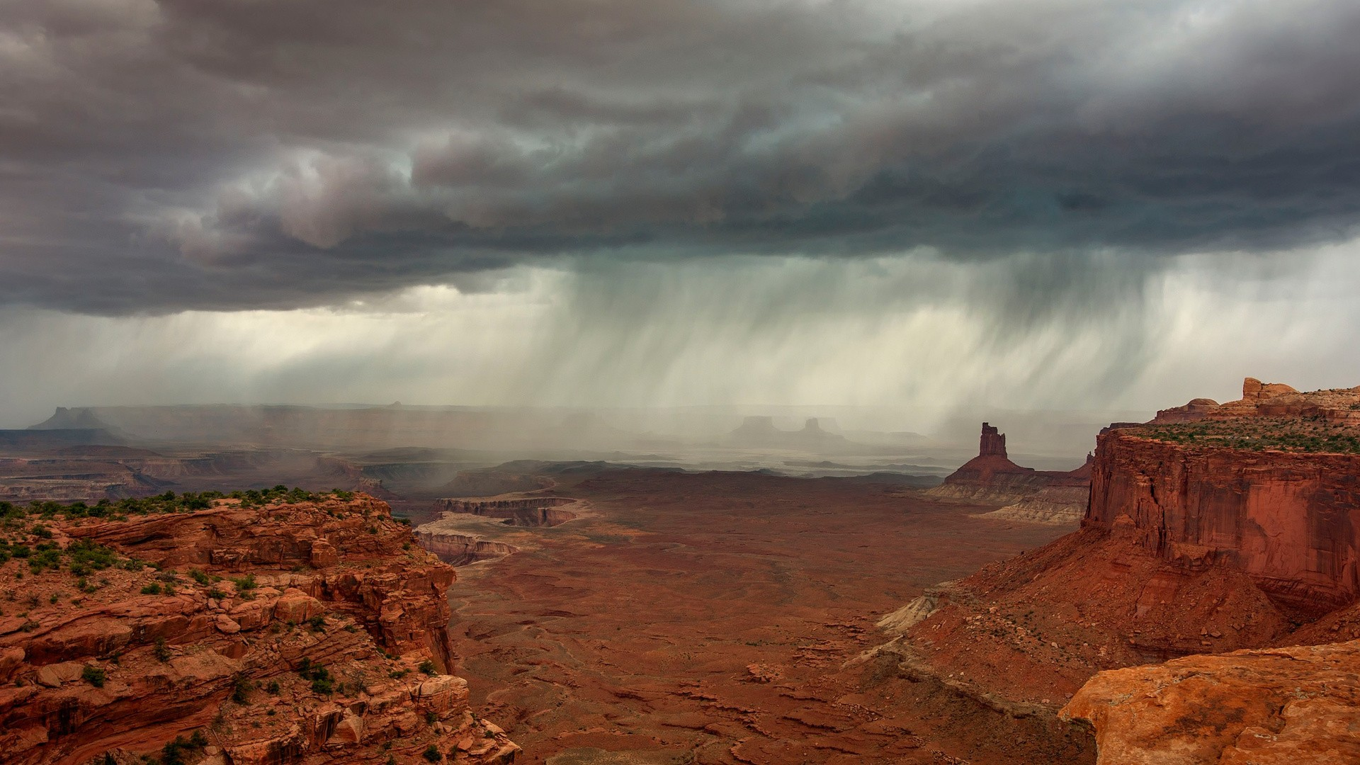 General 1920x1080 landscape nature sky rock USA storm desert rain rock formation clouds