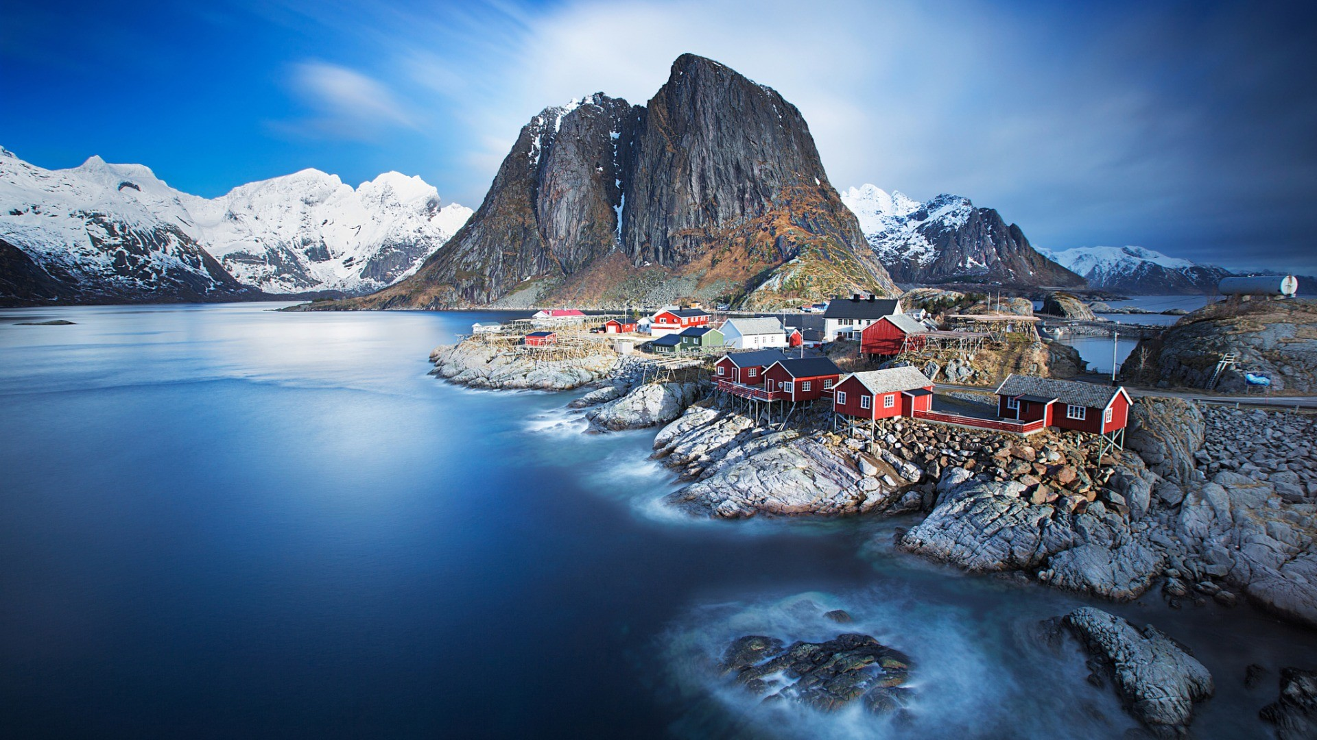 General 1920x1080 nature landscape mountains trees rock water Lofoten Norway sea bay fjord snow snowy peak house village long exposure waves clouds
