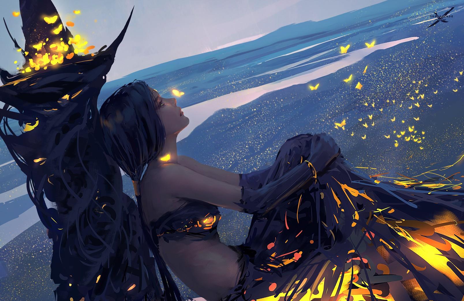 General 1608x1045 fantasy art fantasy girl artwork WLOP Ghostblade tube top landscape Ghost + Blade