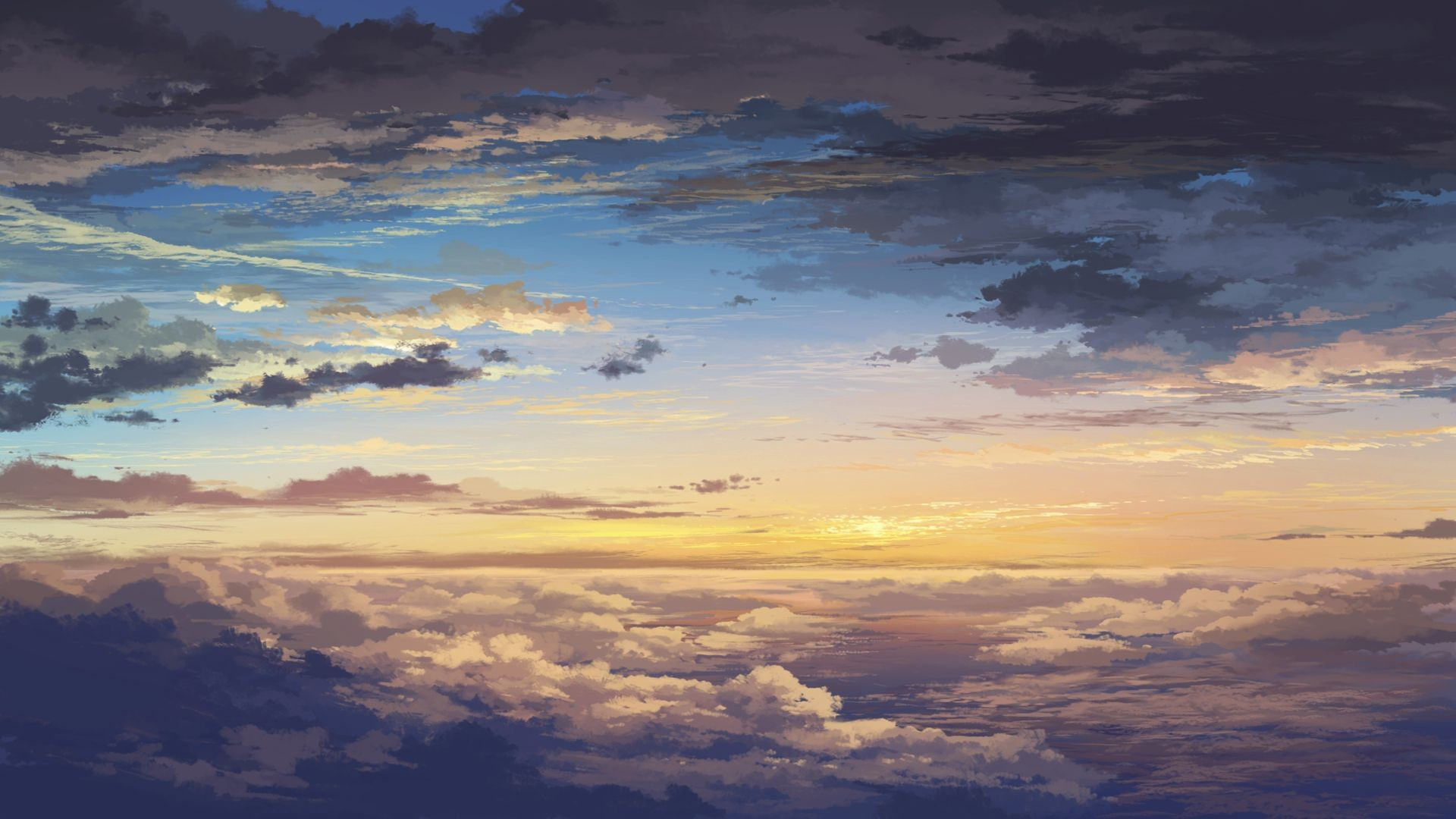 General 1920x1080 artwork sky clouds nature horizon anime sunlight