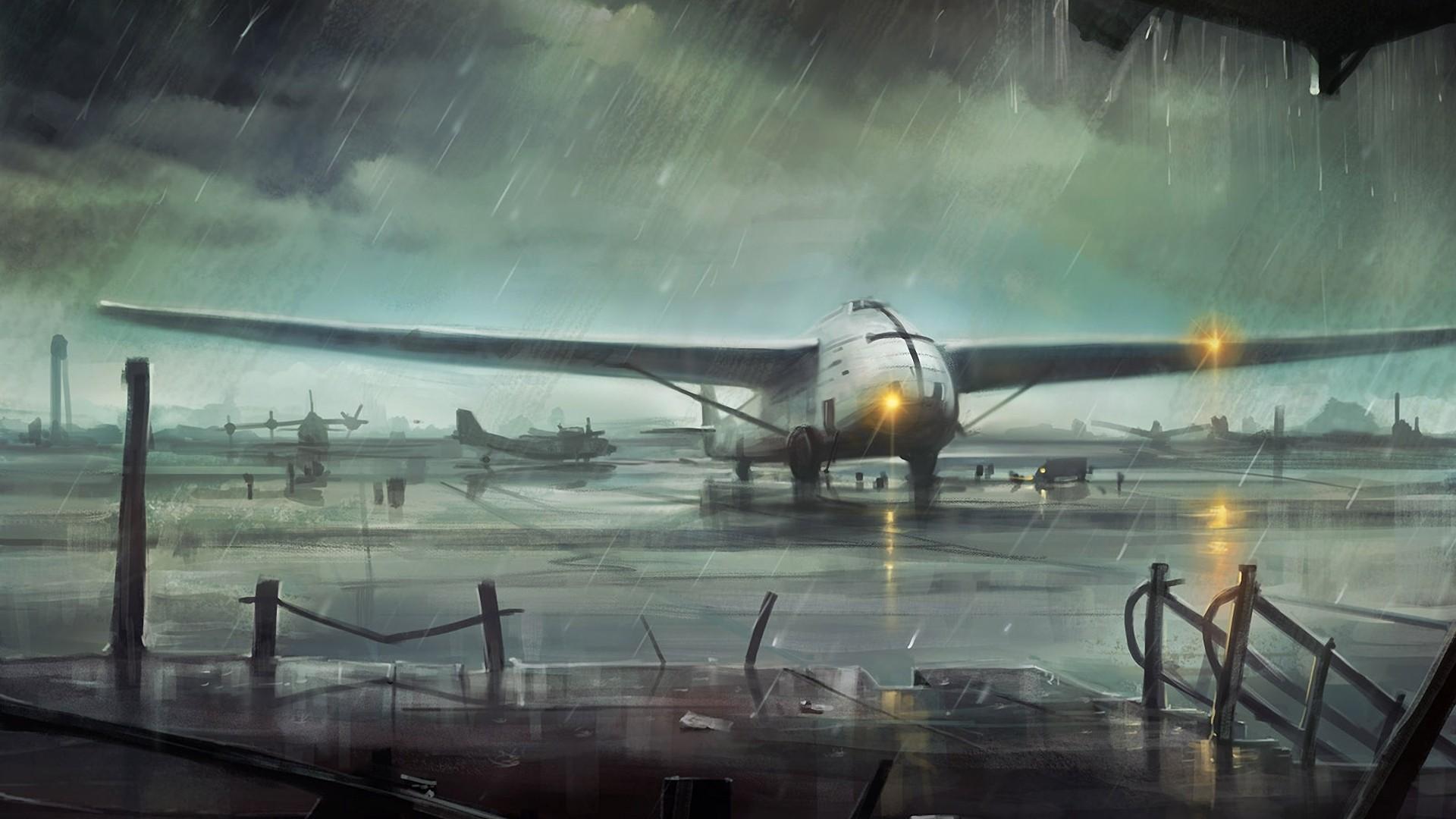 General 1920x1080 artwork airplane rain airport haryarti