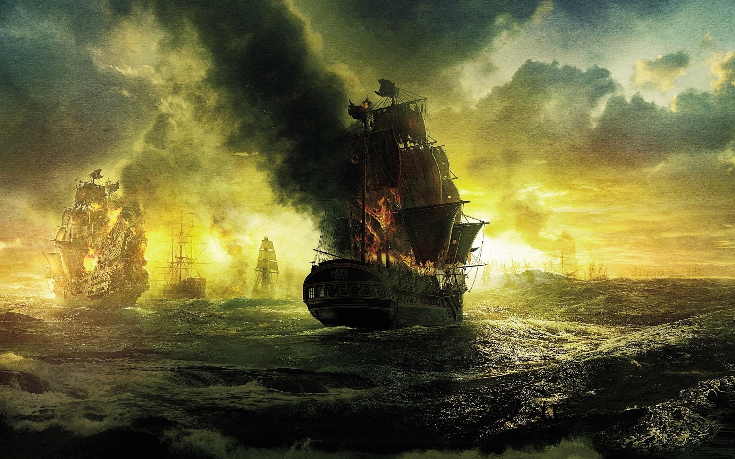 General 2560x1600 sea old ship sailing ship artwork ship fire