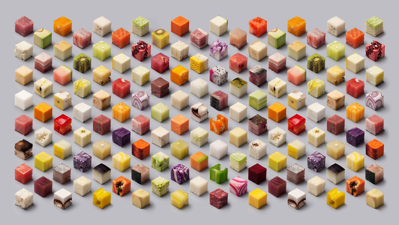 General 3000x1688 food cube artwork 3D 3D Blocks abstract 3D Abstract