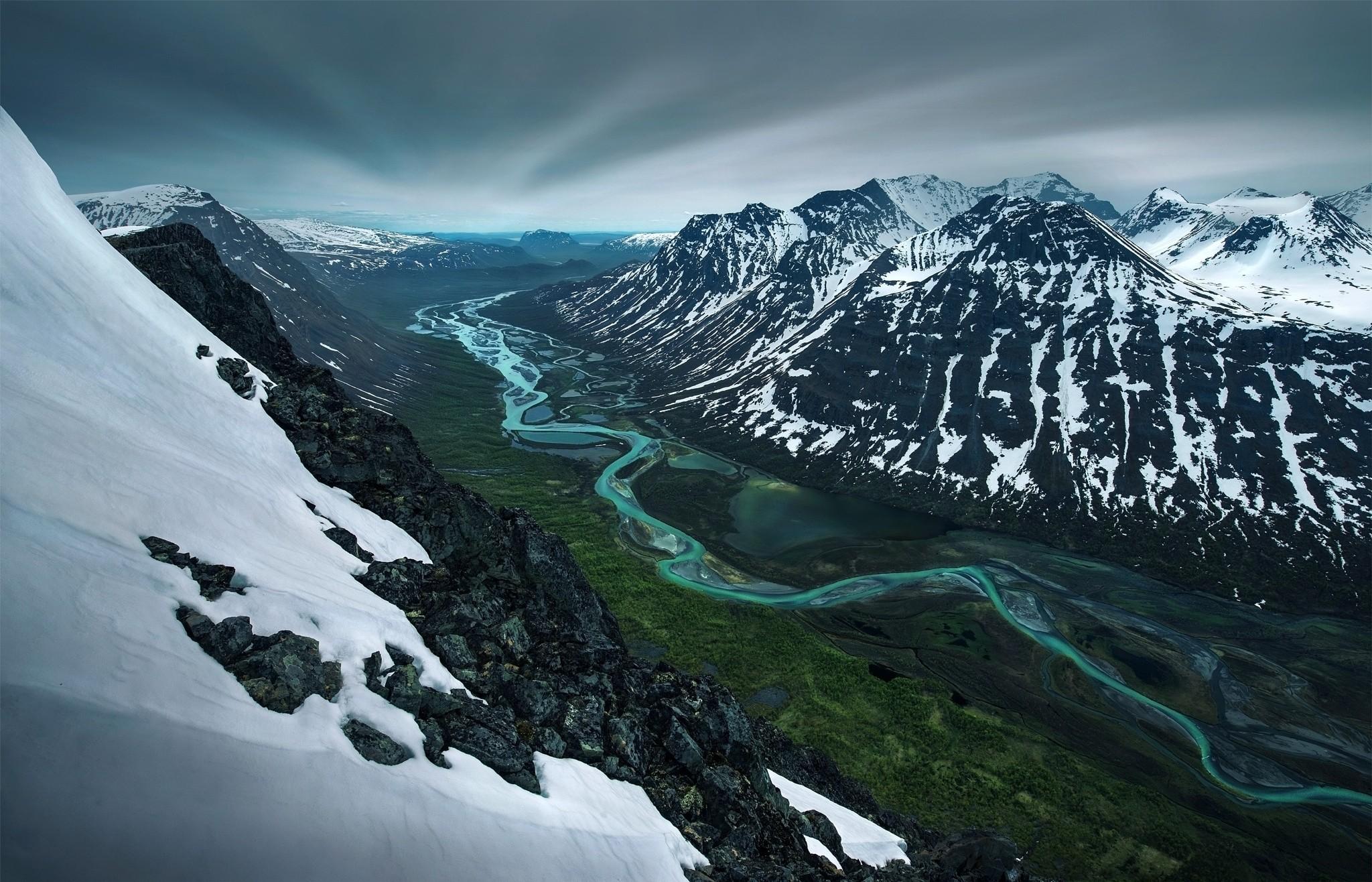General 2048x1316 nature landscape mountains snow river valley snowy peak spring Sweden