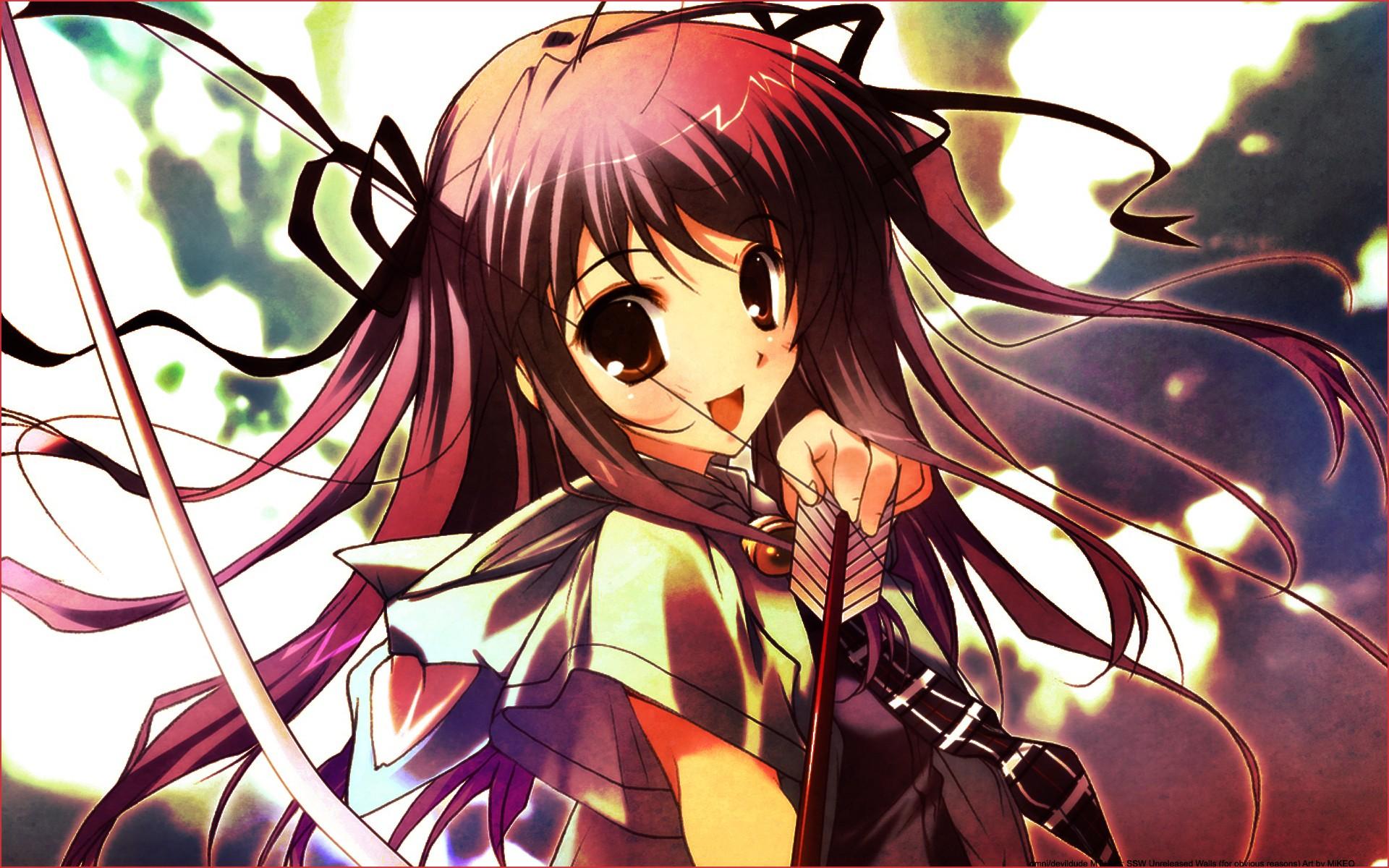 Anime 1920x1200 anime anime girls archer Arrow bow fantasy art fantasy girl dark hair open mouth