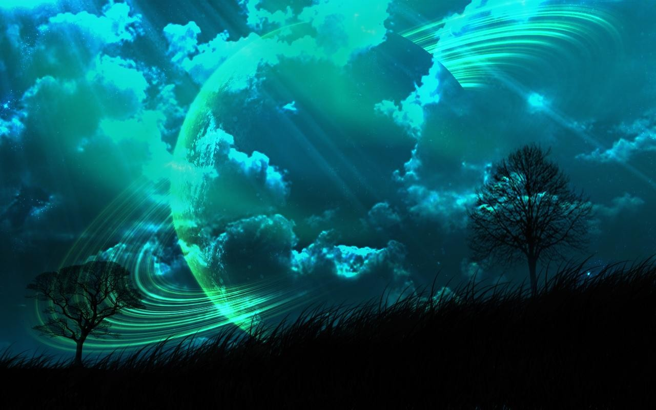 General 1280x800 fantasy art space planet planetary rings landscape turquoise