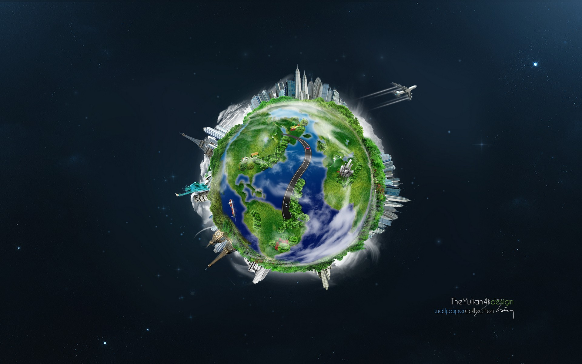 General 1920x1200 world space Earth Statue of Liberty road building Eiffel Tower Leaning Tower of Pisa Big Ben globes