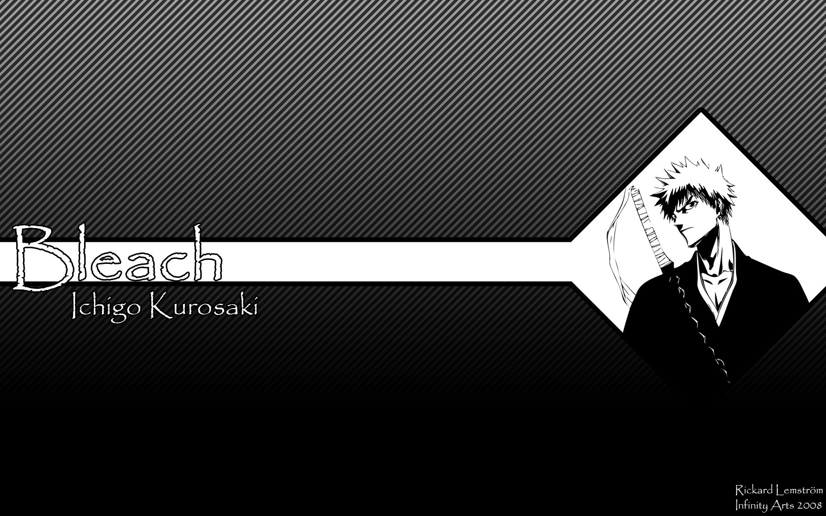 Anime 1680x1050 Bleach Kurosaki Ichigo monochrome stripes anime boys digital art