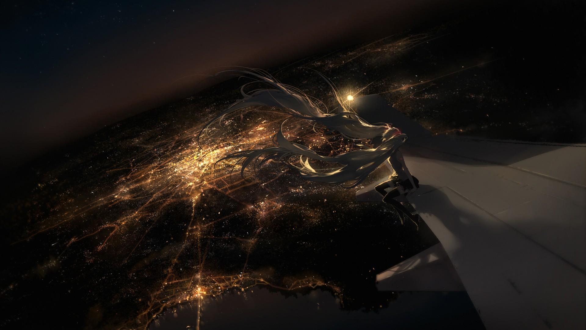 Anime 1920x1080 Hatsune Miku bird's eye view airplane anime aircraft lights cityscape