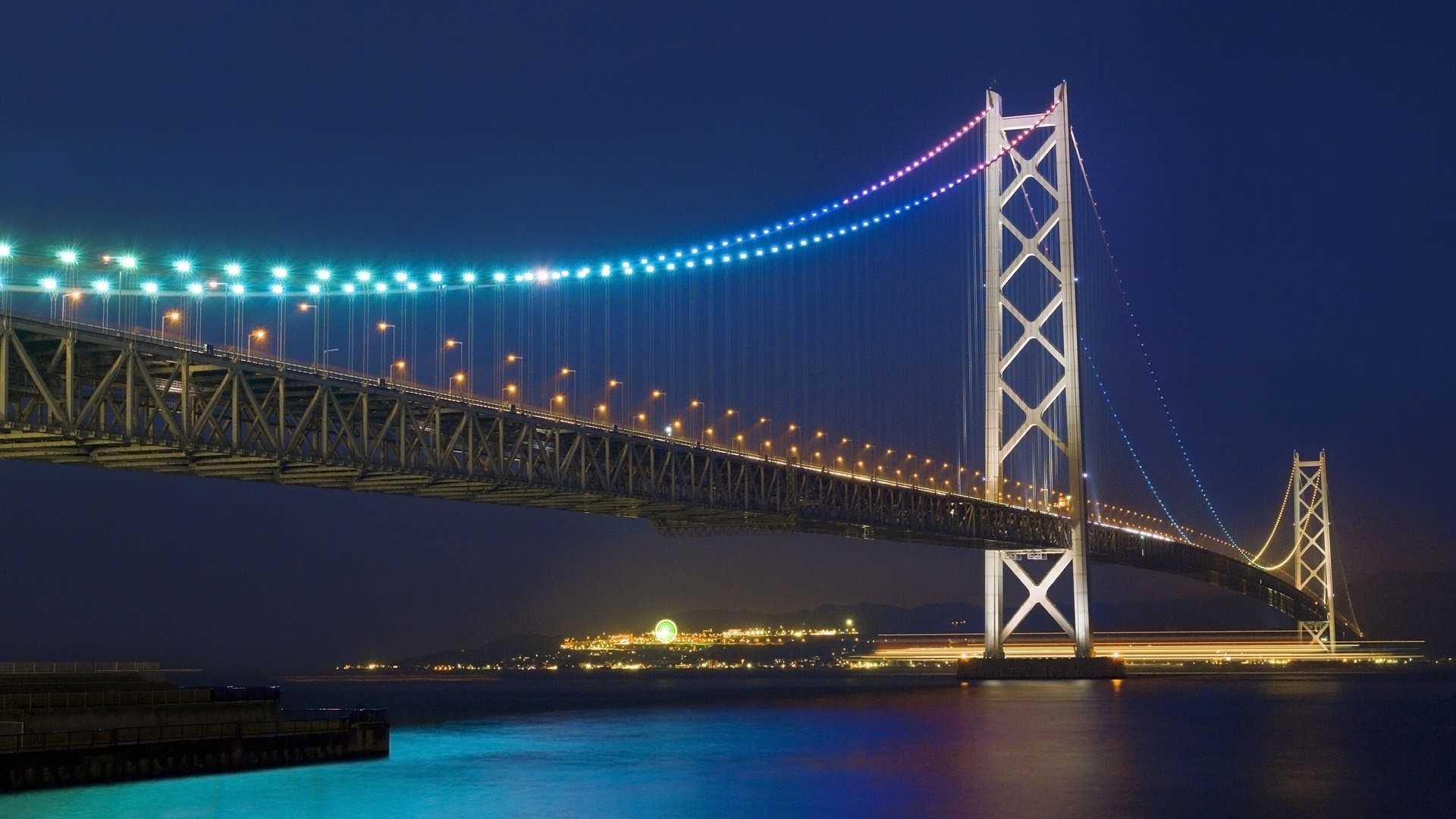 General 1920x1080 Akashi Kaikyō Bridge bridge architecture Japan night lights sea