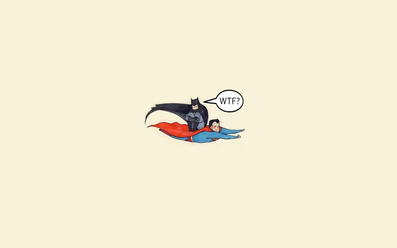 General 1680x1050 minimalism artwork superhero cartoon Batman Superman simple background humor flying cape