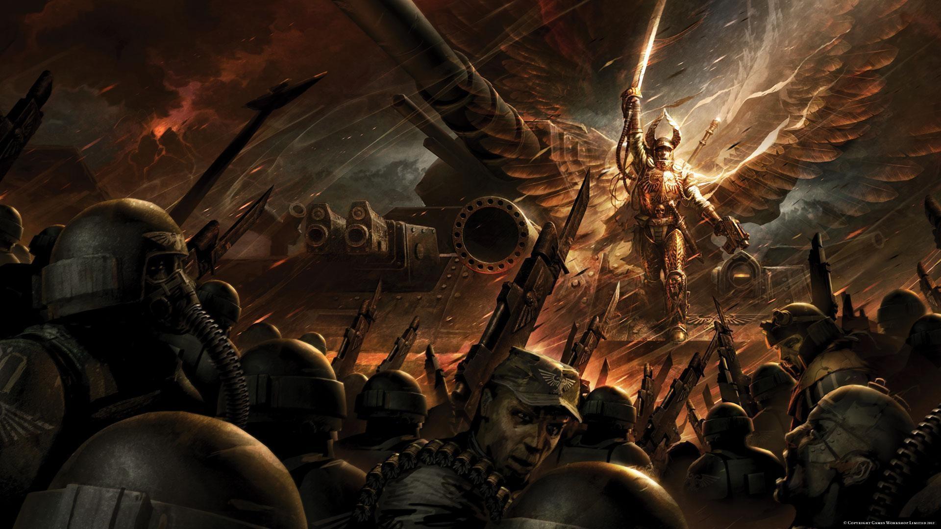 General 1920x1080 Warhammer 40,000 imperial guard wings fantasy art artwork soldier weapon war 2012 (Year)