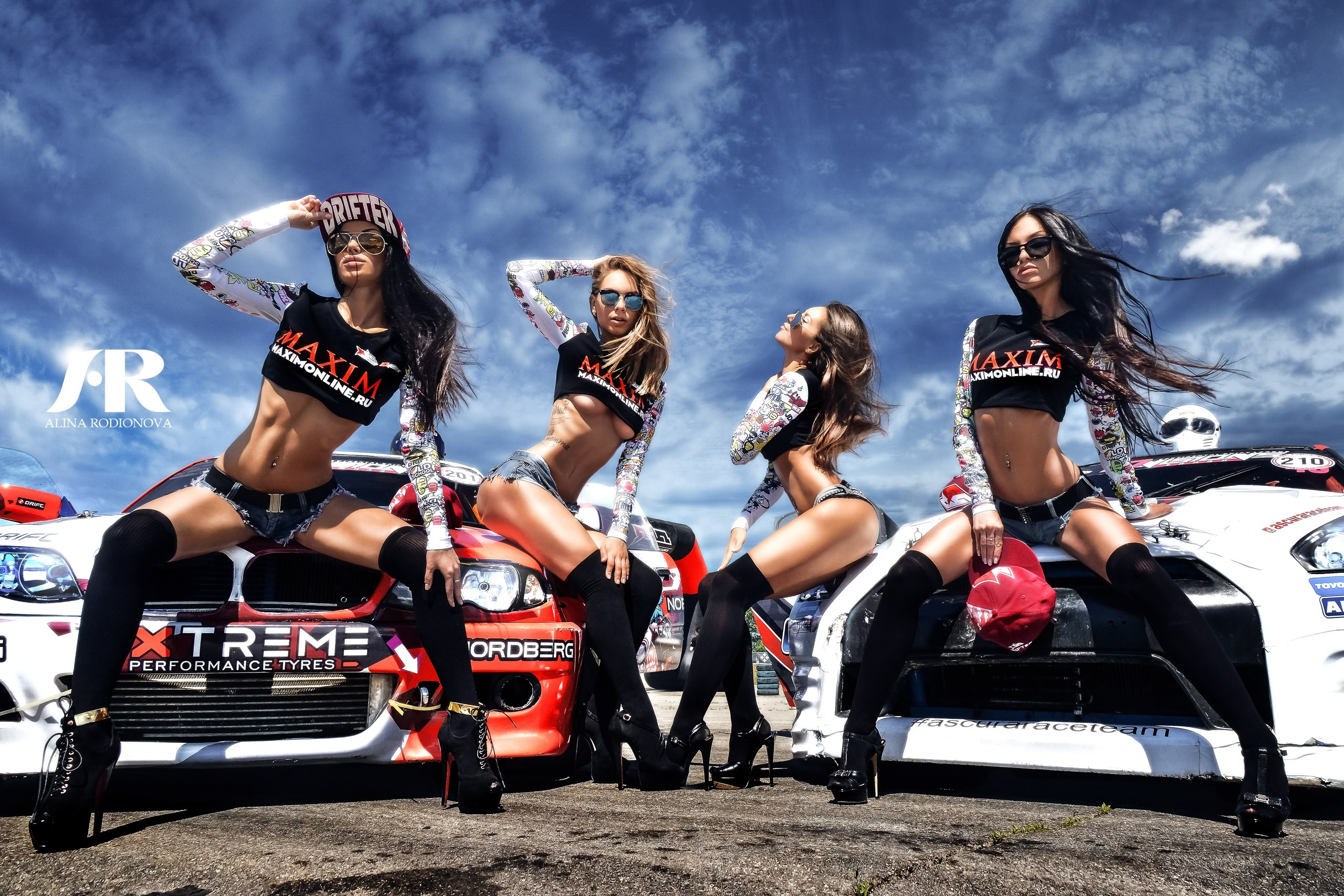 People 2560x1708 women group of women blonde sitting jean shorts black hair glasses women with glasses pierced navel stockings women outdoors women with cars high heels black stockings ass tattoo closed eyes Maxim Magazine