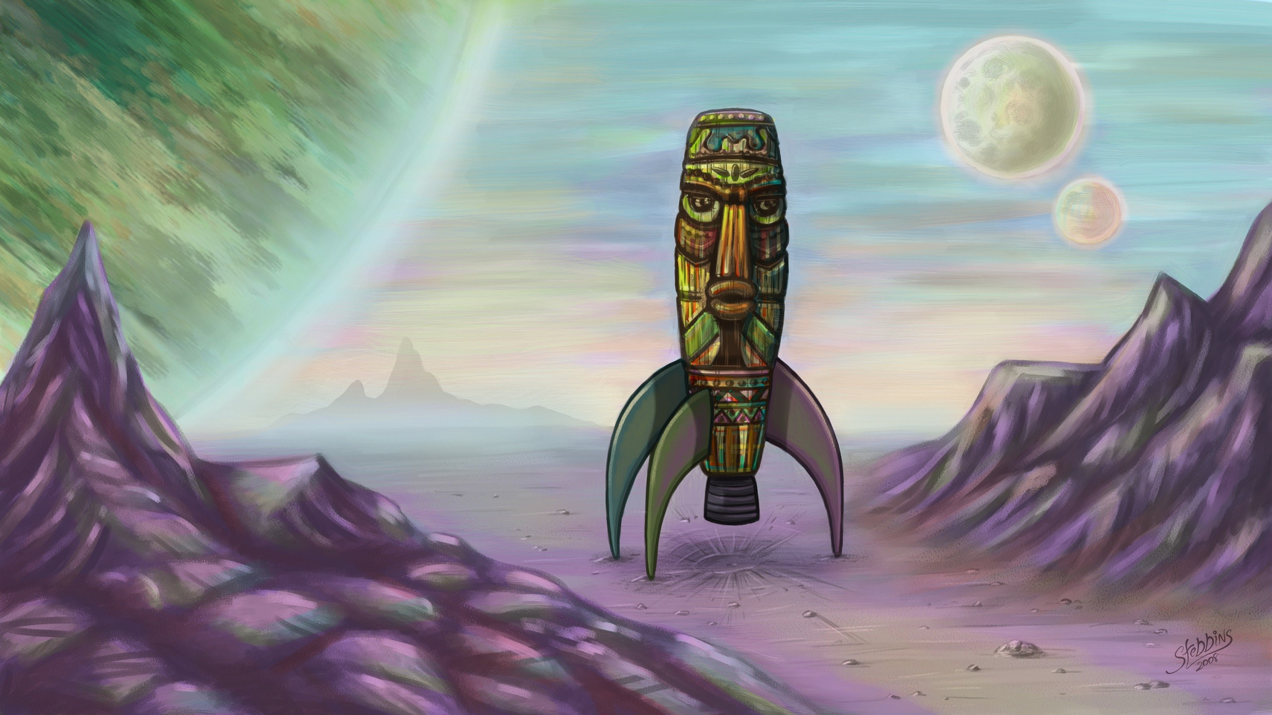 General 2560x1440 space vintage totem Tiki rocket artwork fantasy art