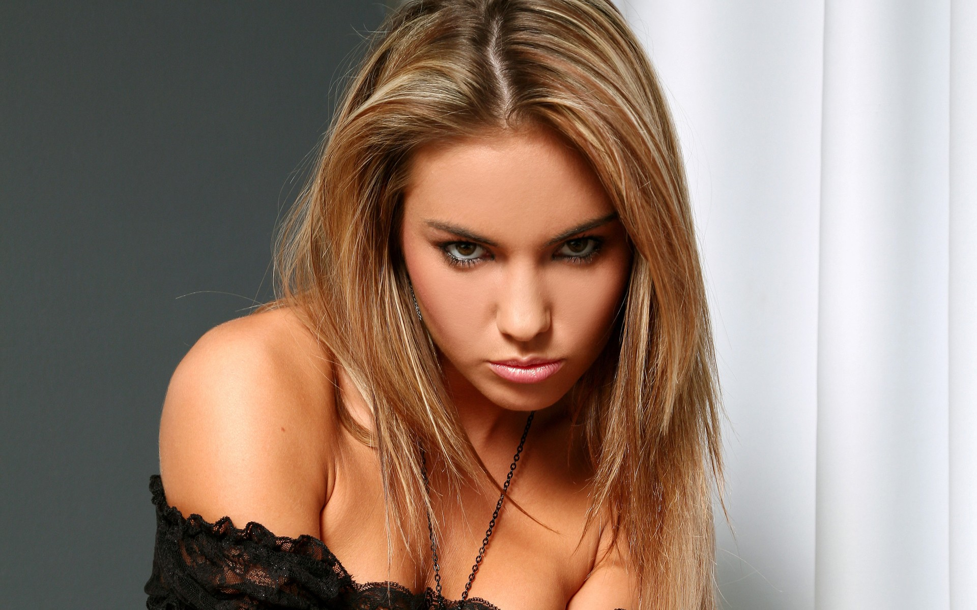 People 1920x1200 blonde pouting bare shoulders Veronika Fasterova pornstar face makeup sultry look women indoors indoors dyed hair looking at viewer