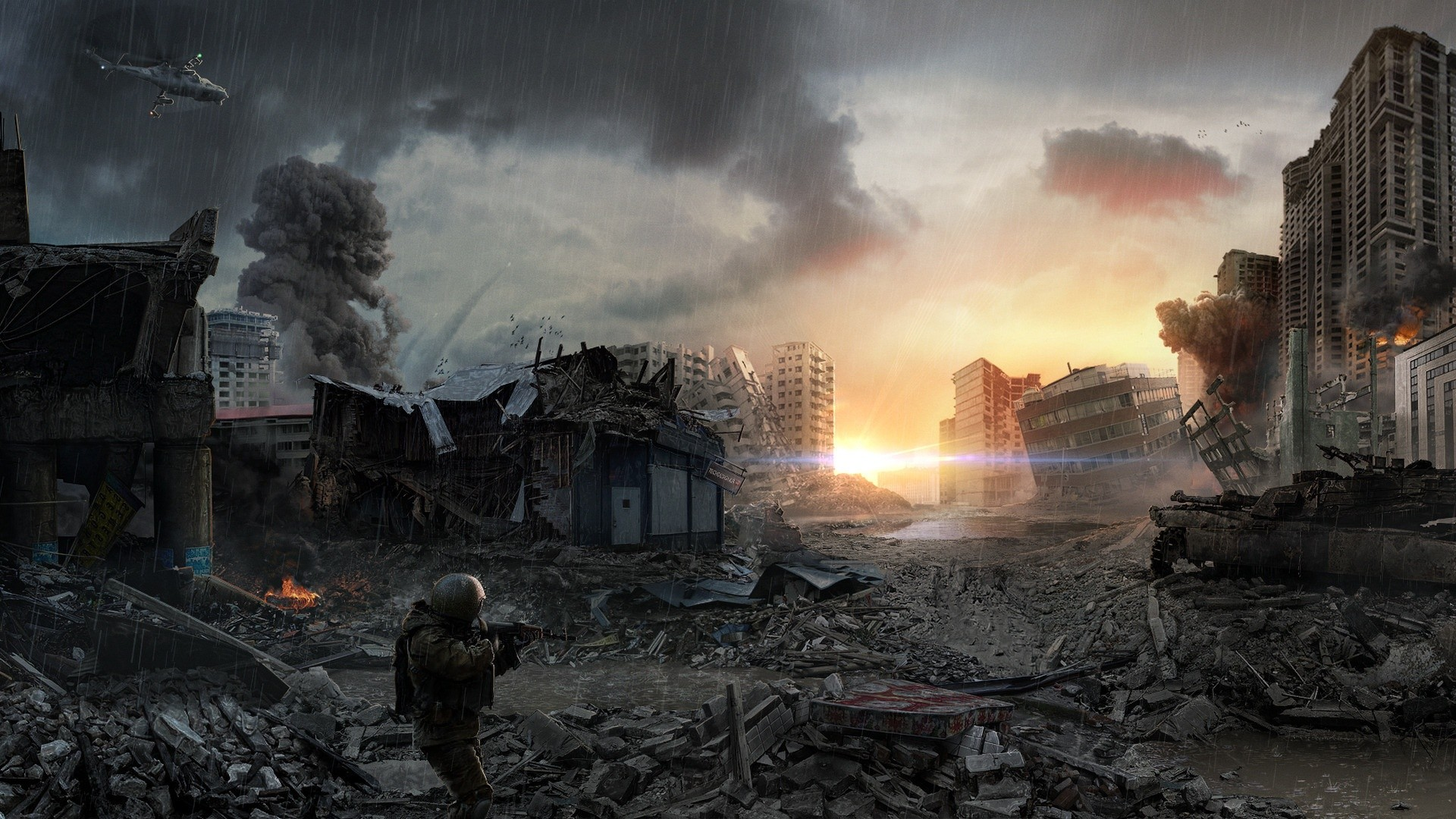 General 1920x1080 apocalyptic digital art sky ruin cityscape artwork futuristic