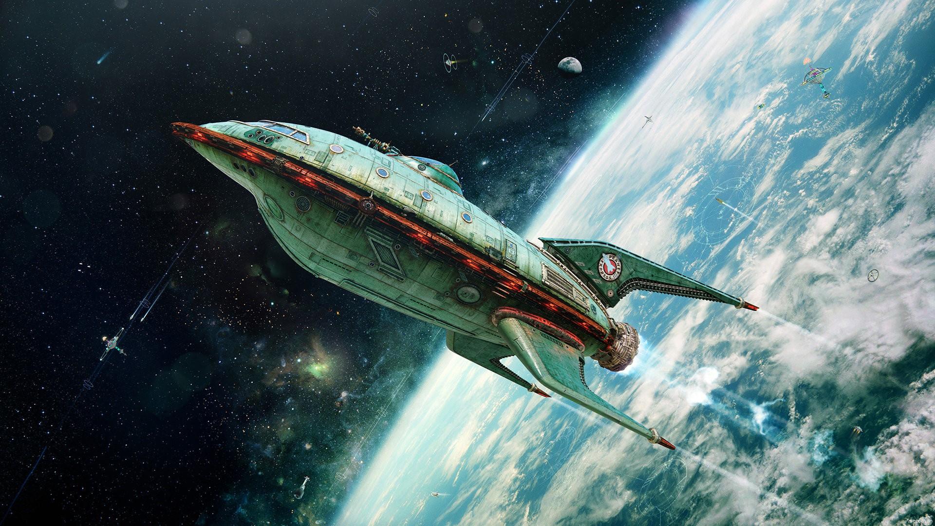 General 1920x1080 digital art space universe spaceship rocket planet Earth Futurama 3D vintage artwork satellite bokeh futuristic planet express realistic