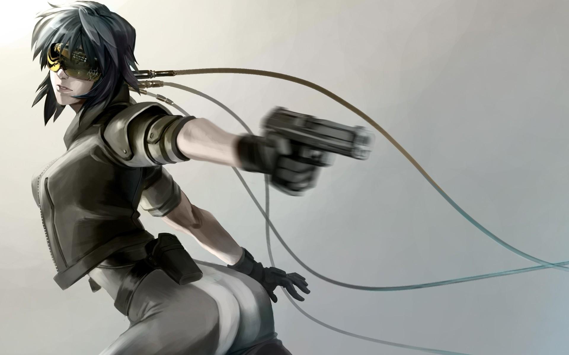 Anime 1920x1200 artwork anime Ghost in the Shell Kusanagi Motoko gun wires machine gun
