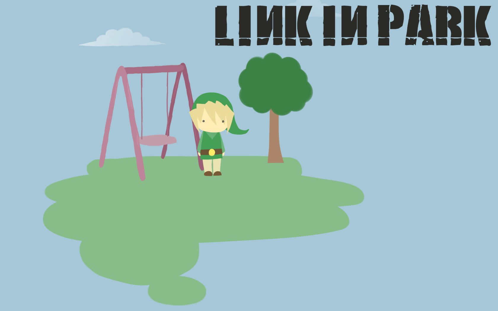 General 1680x1050 Link Linkin Park artwork swings humor video games The Legend of Zelda video game art Video Game Heroes trees simple background blue background music