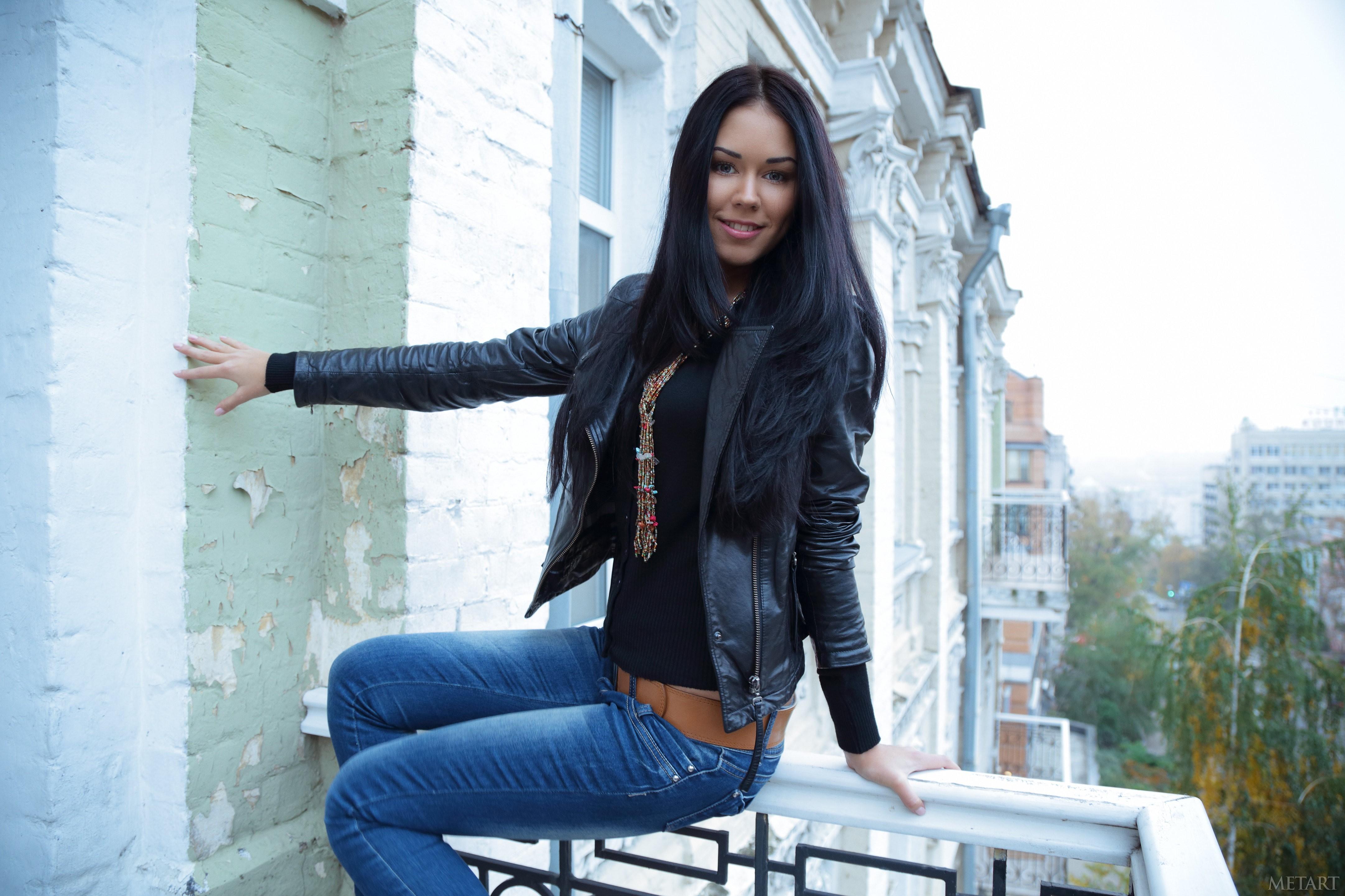 People 4324x2883 women model dark hair long hair Macy B smiling women outdoors balcony jeans leather jackets black hair MetArt Magazine