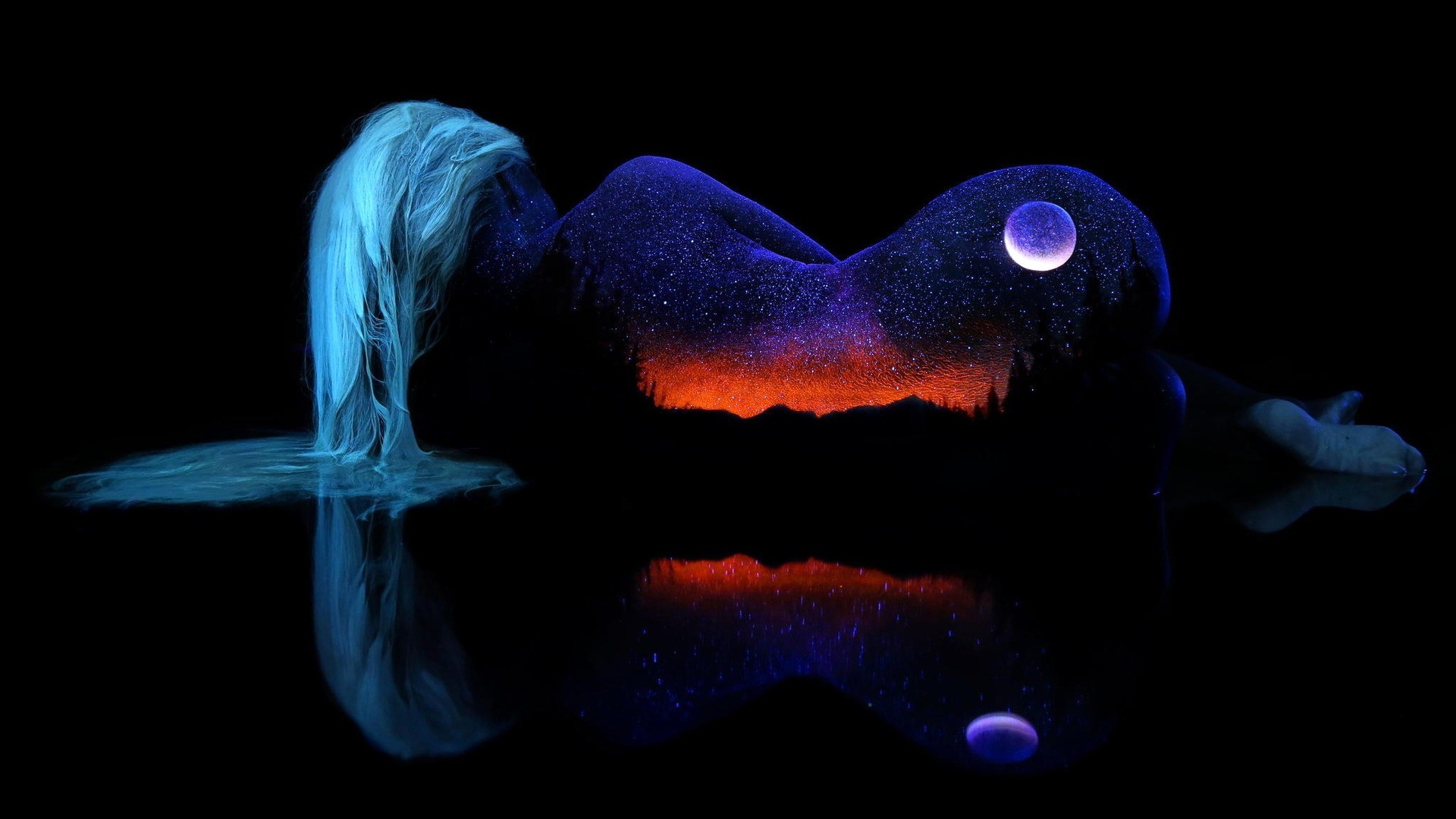 General 1920x1080 women artwork stars erotic art  back nature aqua hair reflection simple background black background Moon rear view digital art sky