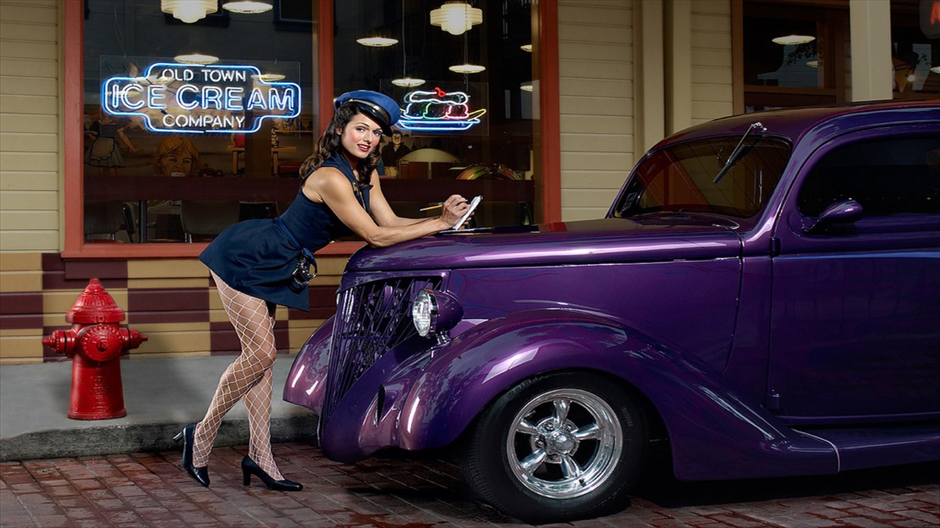 People 1920x1080 Oldtimer car women with cars purple cars legs purple police women Vintage car