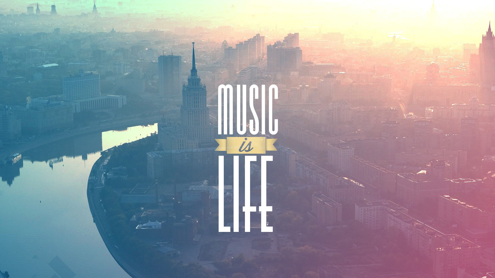 General 1920x1080 building architecture landscape music typography cityscape river filter Music is Life sunlight