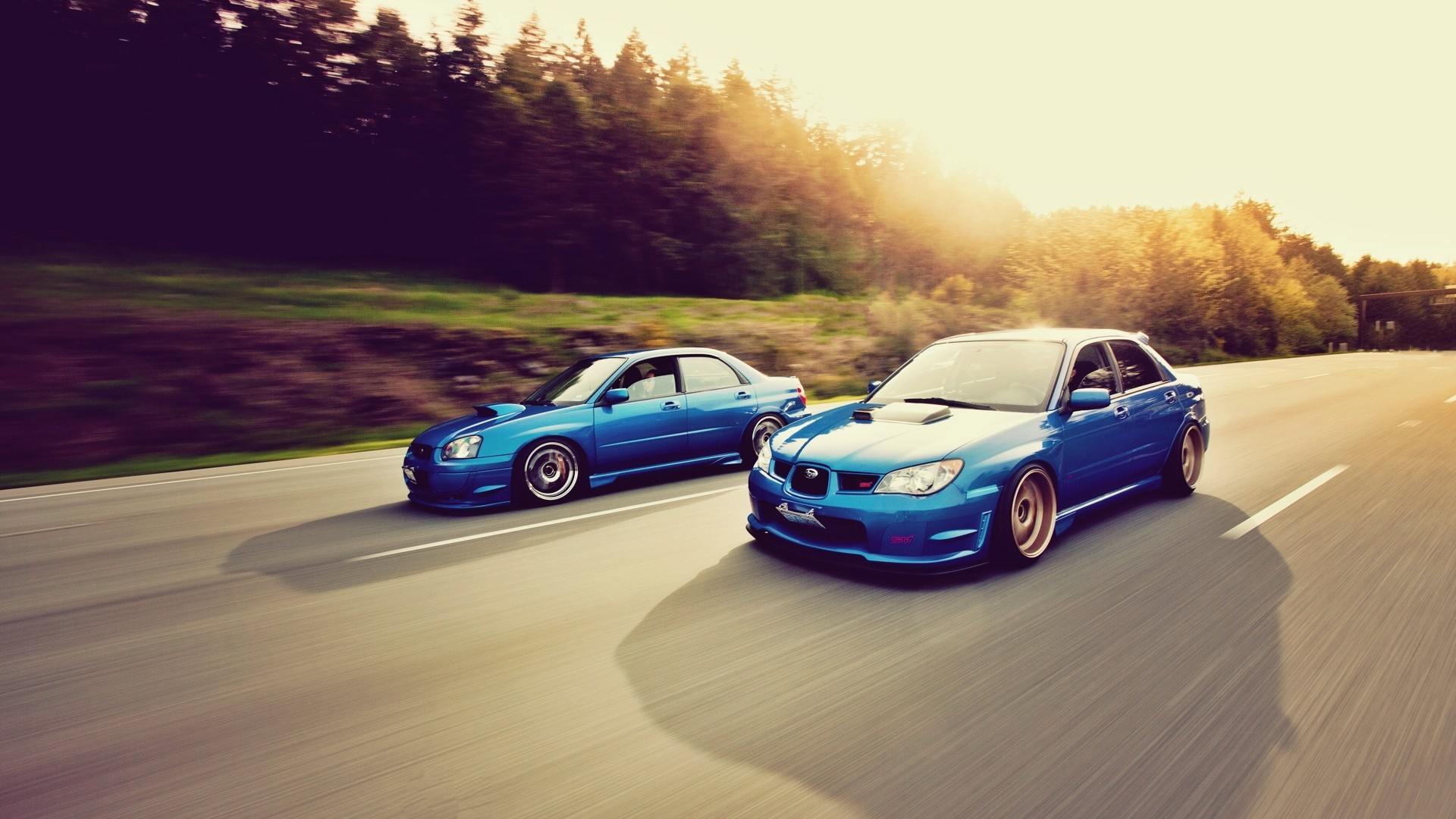 General 1920x1080 car Subaru Subaru Impreza  Stance blue cars colored wheels road sunlight asphalt vehicle impreza