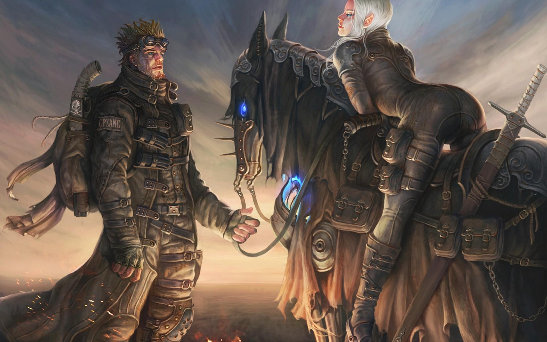 General 1920x1200 fantasy art women men horse sword weapon concept art ass bent over platinum blonde