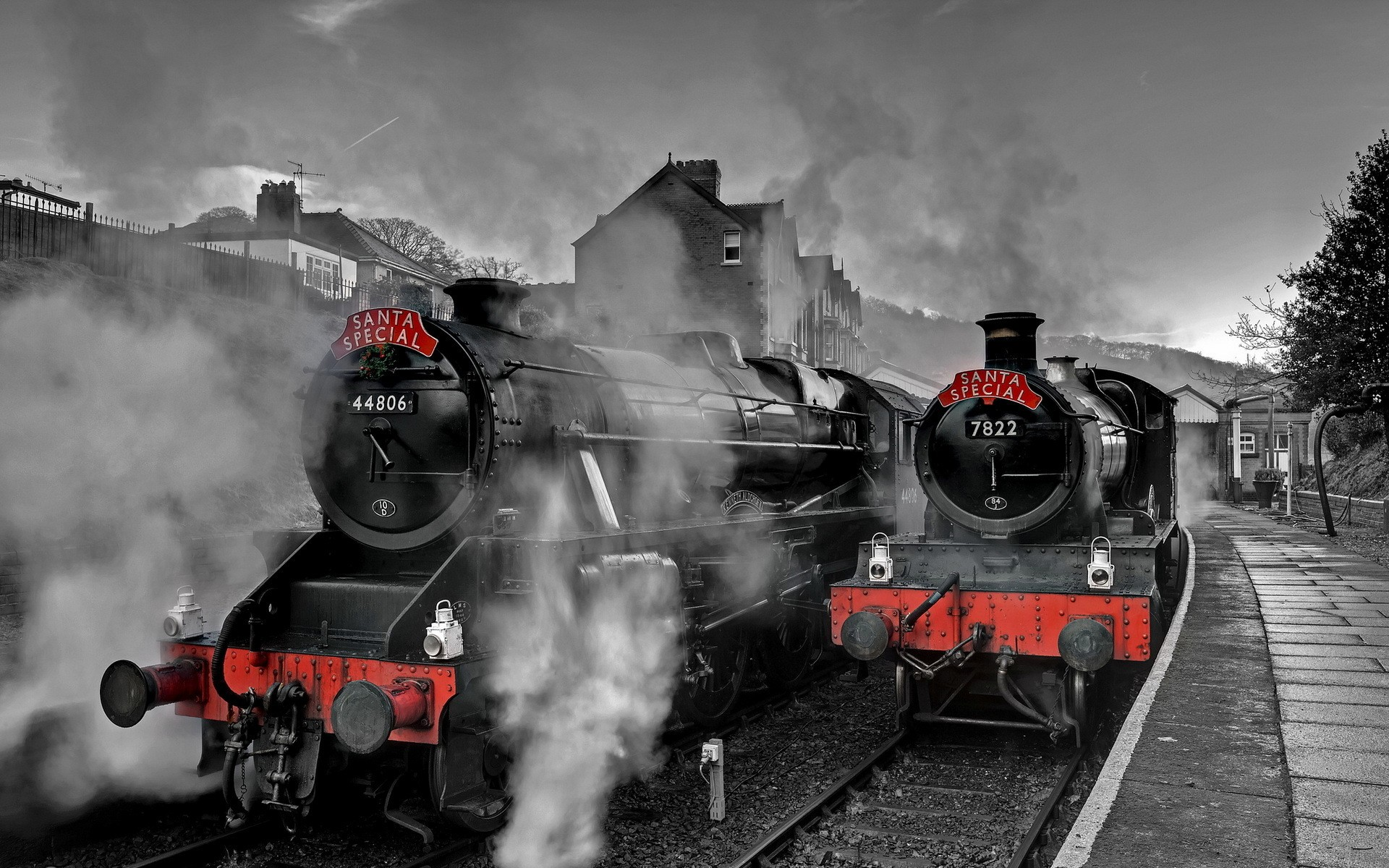 General 1920x1200 railway steam locomotive train train station trees house hills santa selective coloring