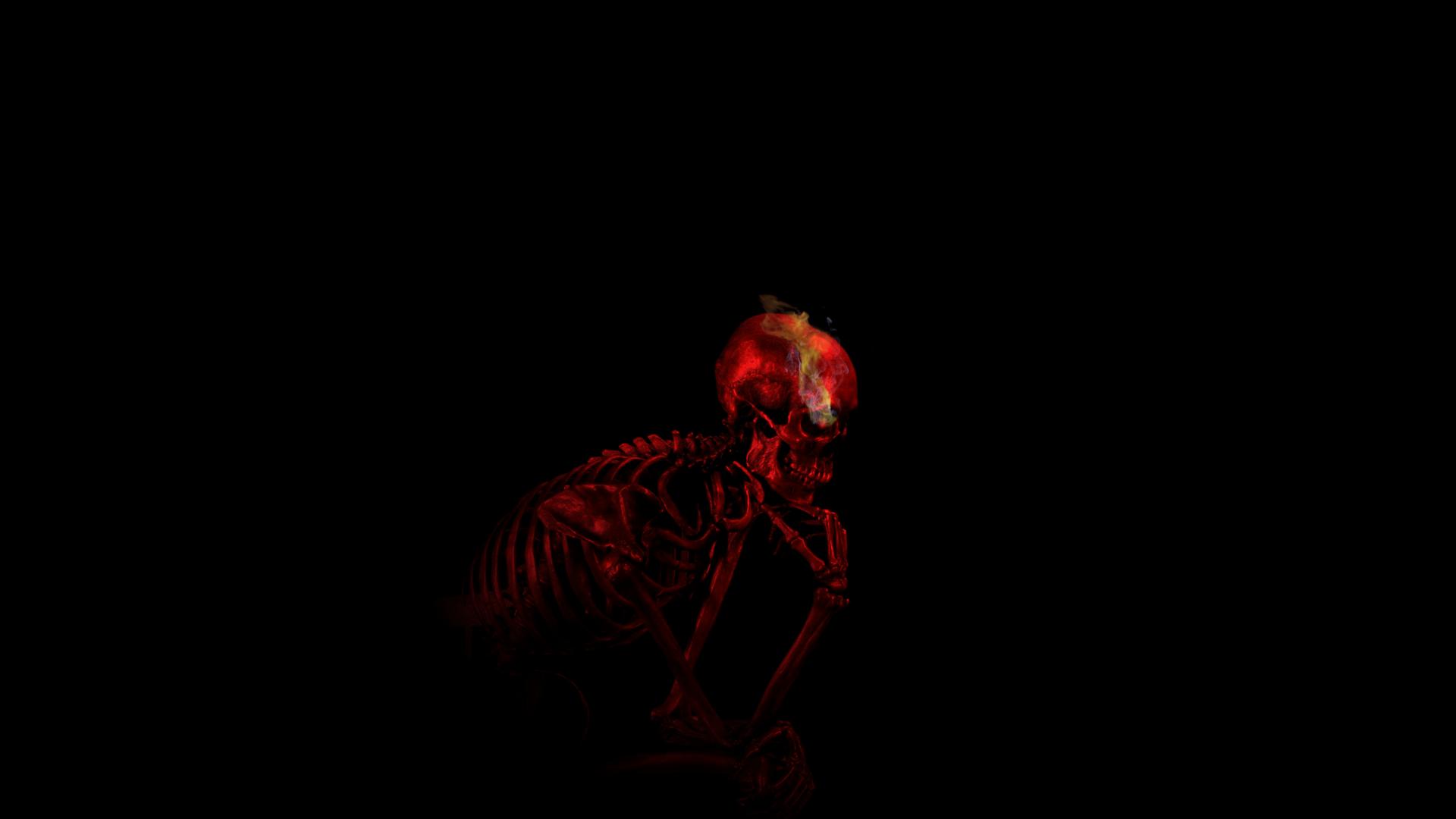 General 1920x1080 digital art skull black background minimalism red skeleton smoke thinking bones ribs teeth imagination
