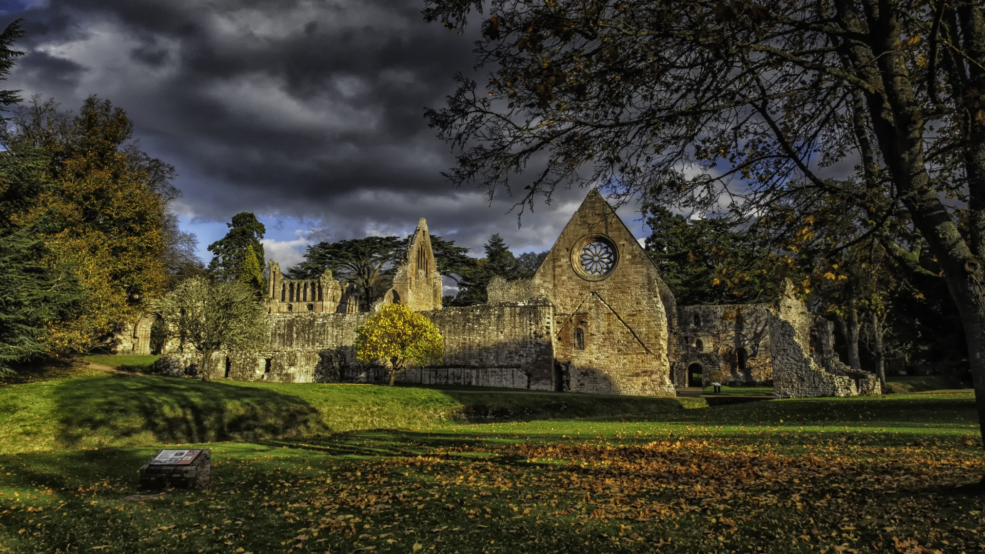 General 1920x1080 architecture house town old old building Scotland UK trees clouds field grass stone house church ruins HDR leaves fall shadow history