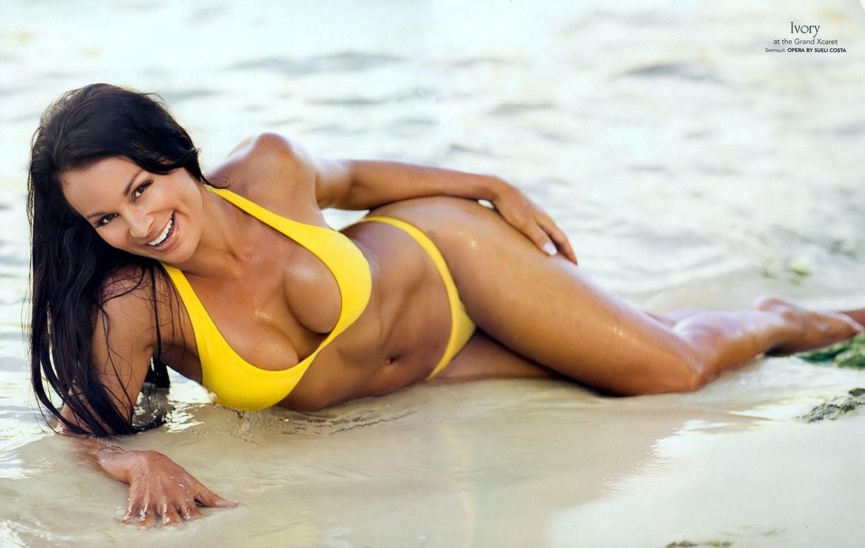 People 1250x792 women outdoors bikini women wet body lying on side long hair model brunette cleavage Yellow bikini Lisa Moretti