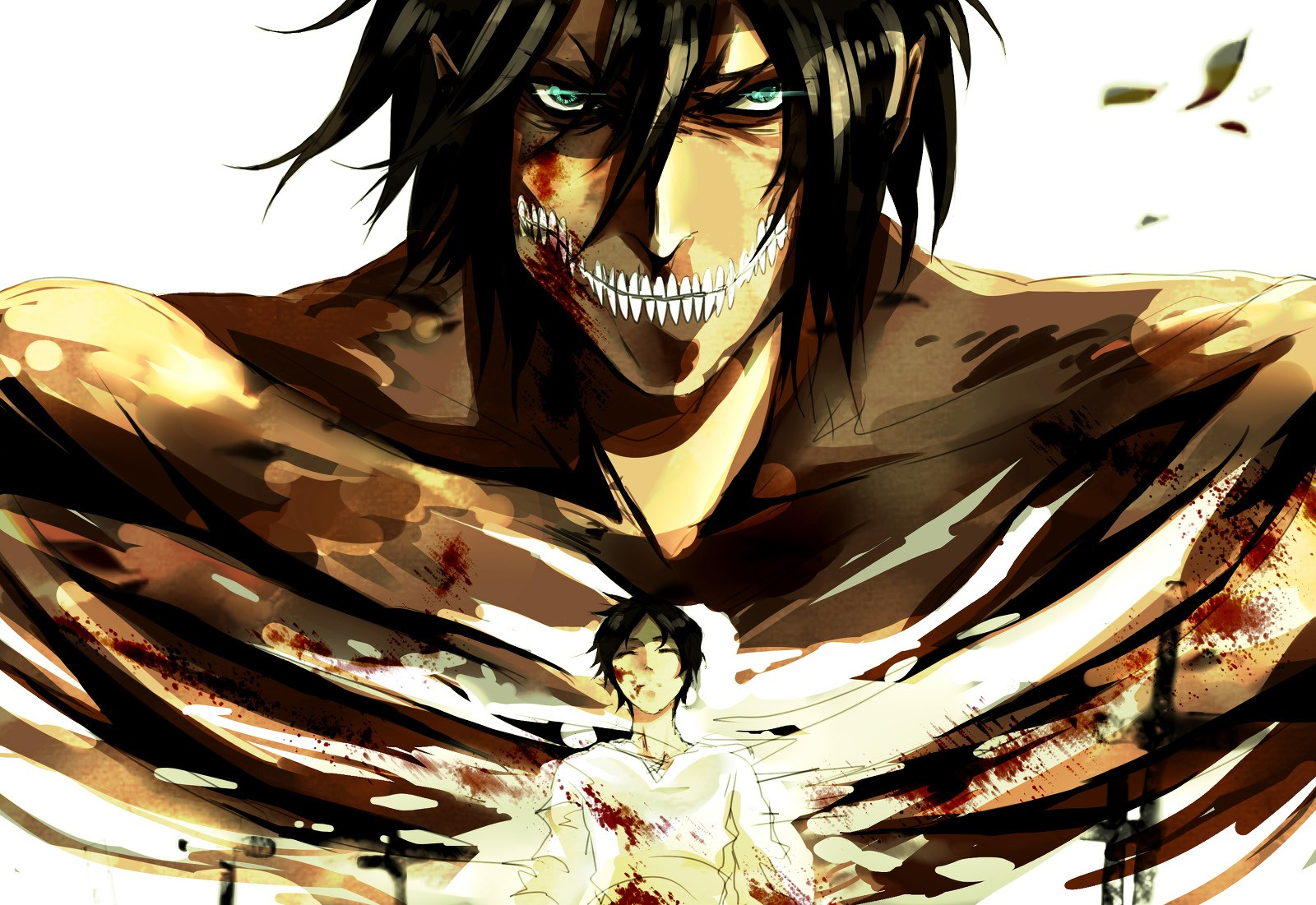 Anime 1600x1101 Shingeki no Kyojin Eren Jeager anime anime boys blood