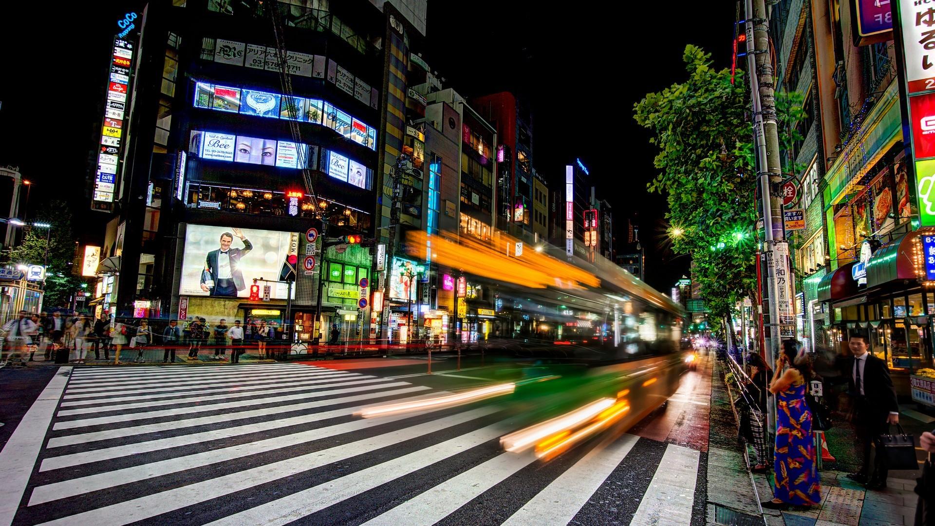 General 1920x1080 cityscape night street Japan