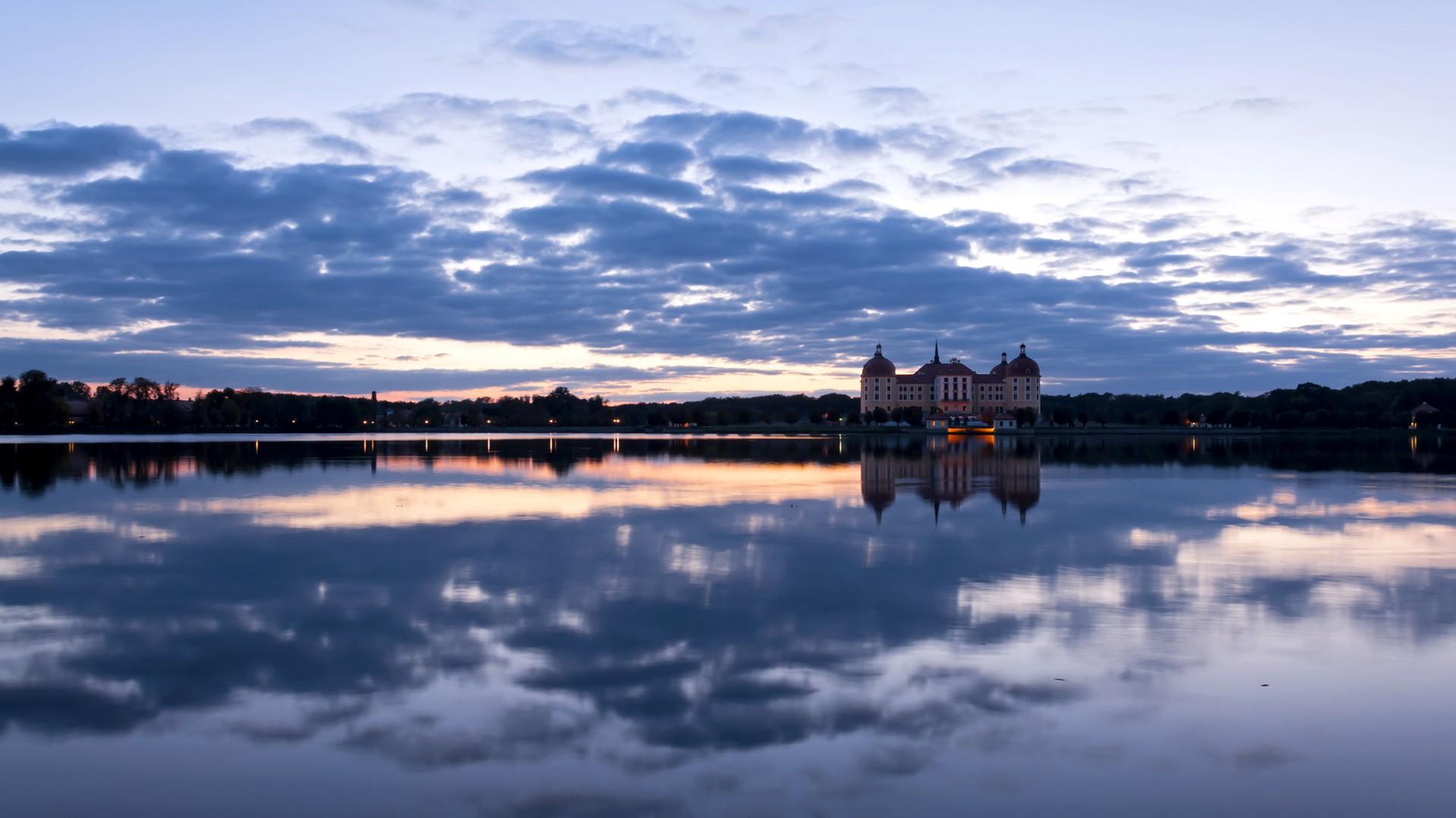 General 1920x1080 coast landscape lake architecture moritzburg castle calm